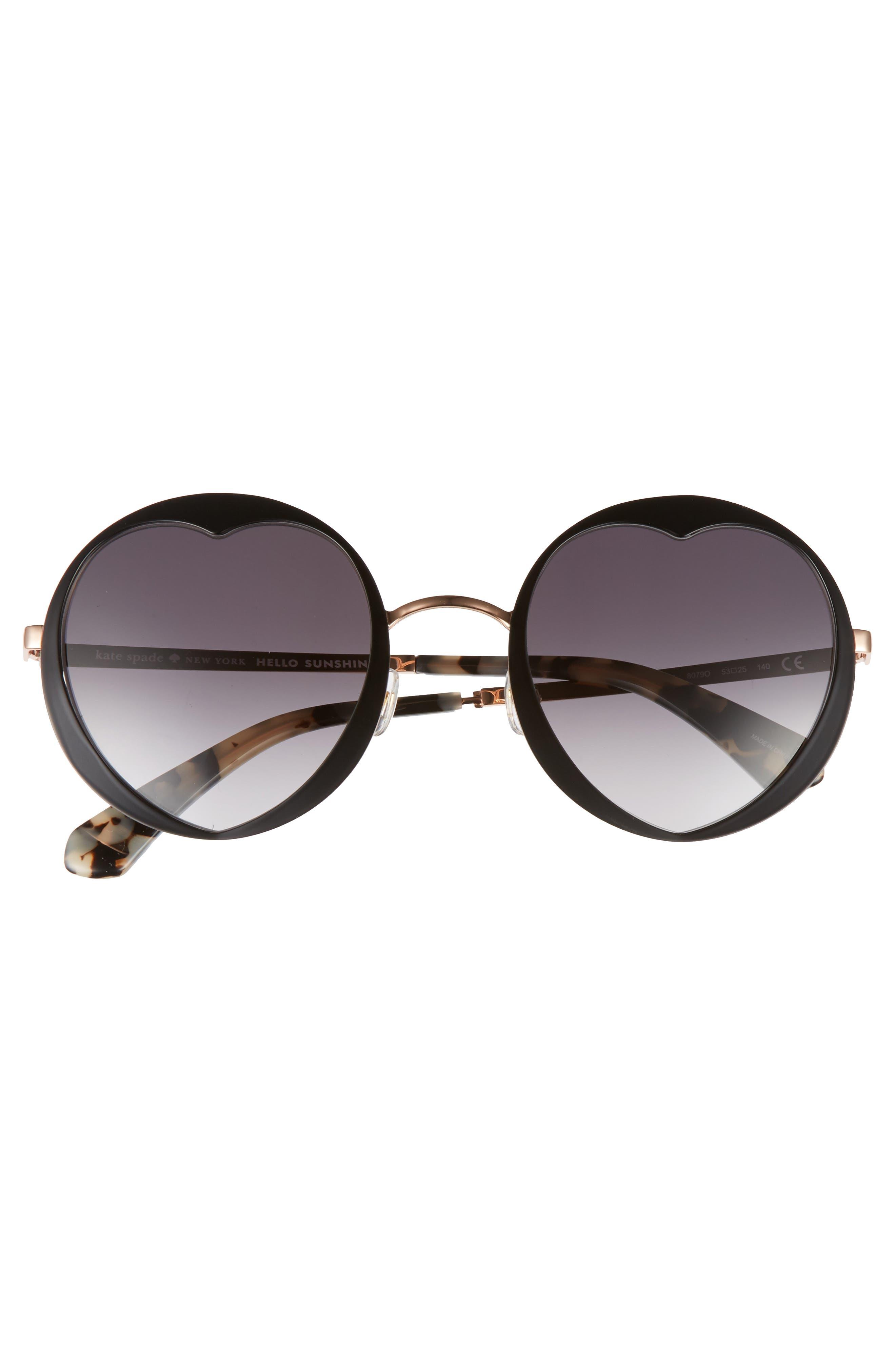 rosaria 53mm heart cutout lens sunglasses,                             Alternate thumbnail 3, color,                             001