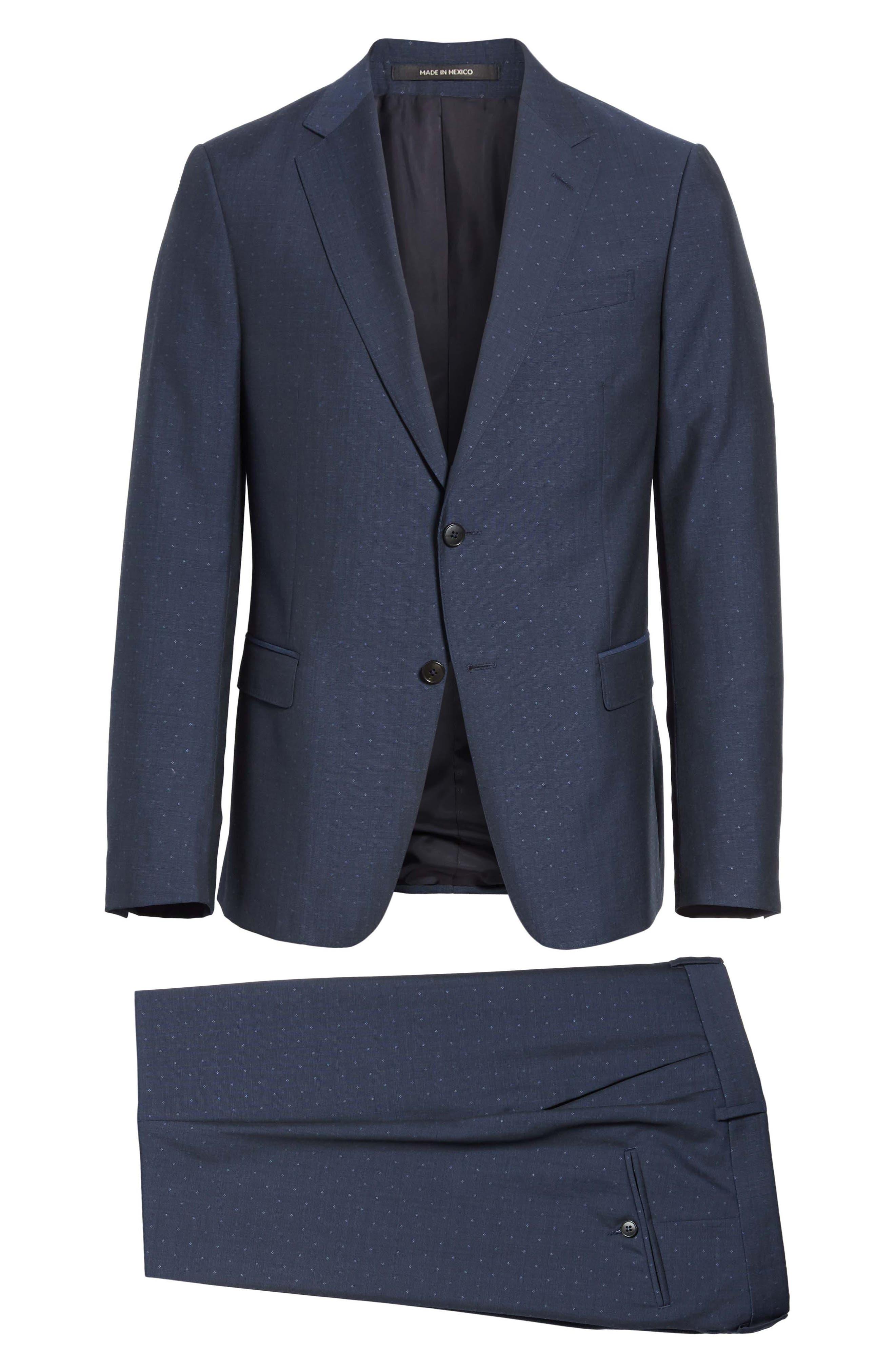 Classic Fit Dot Wool Suit,                             Alternate thumbnail 8, color,                             416