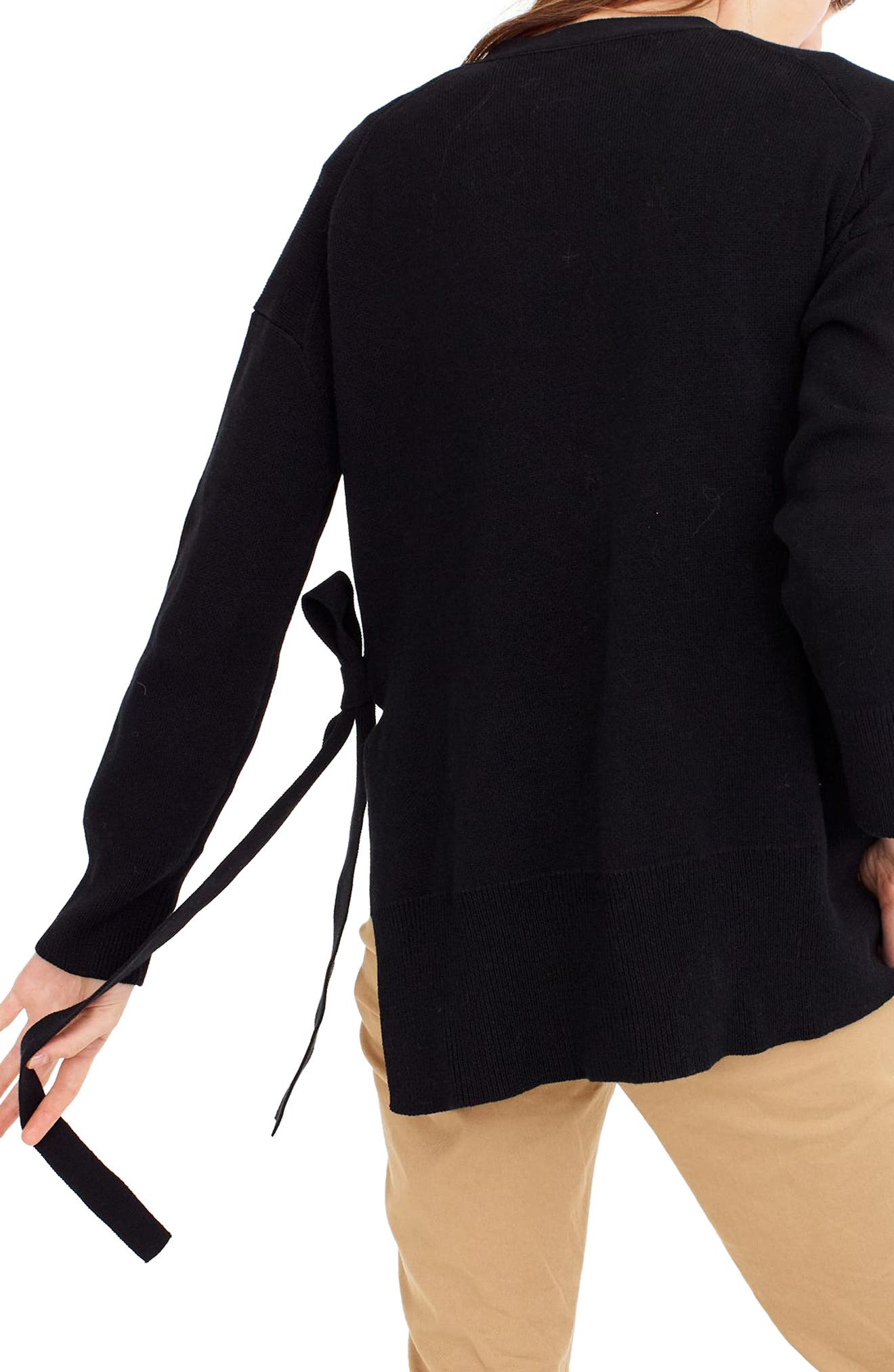 Slouchy Cardigan with Side Ties,                             Alternate thumbnail 3, color,