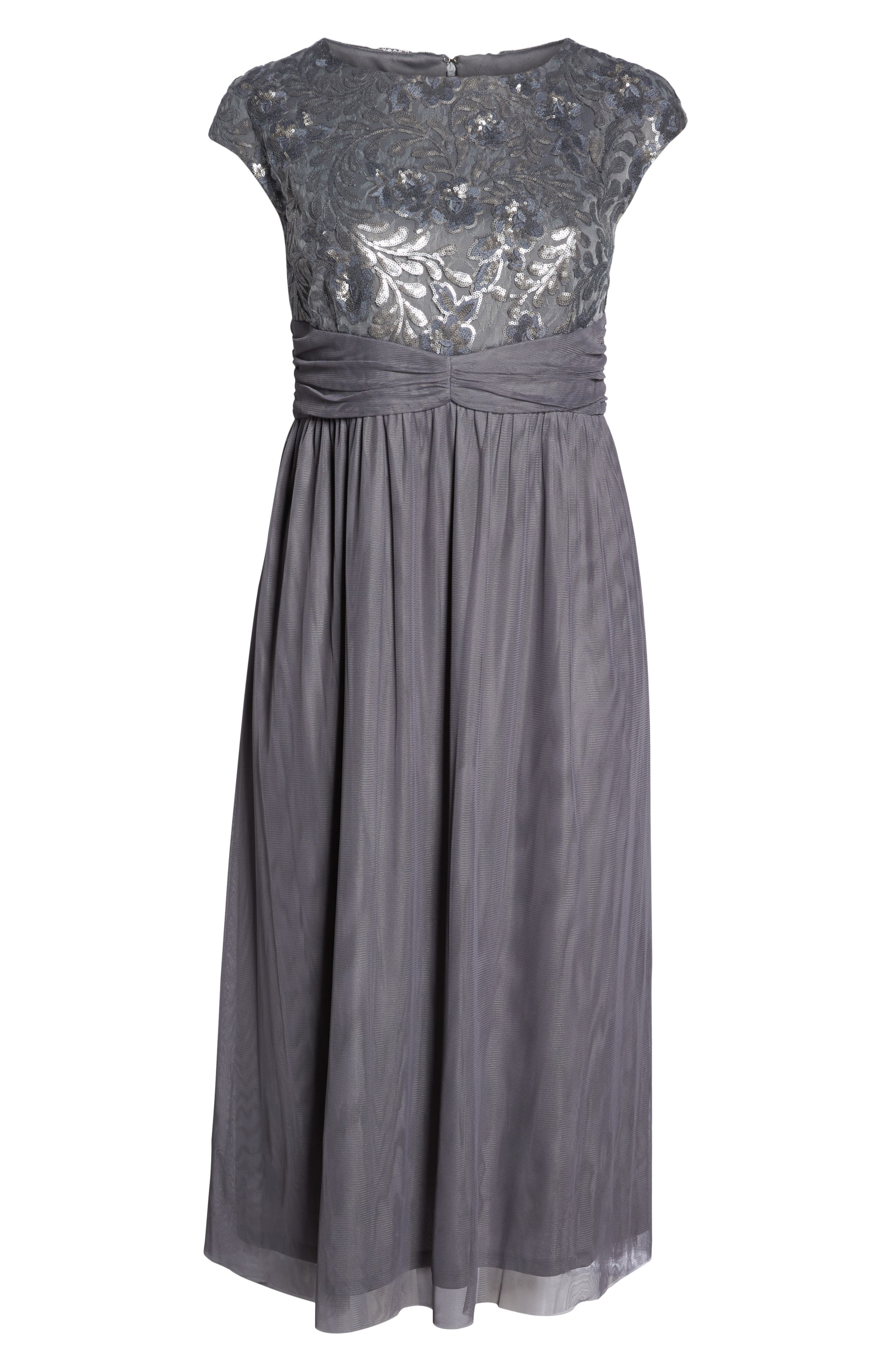 Embellished Cap Sleeve Gown,                             Alternate thumbnail 7, color,                             GUNMETAL