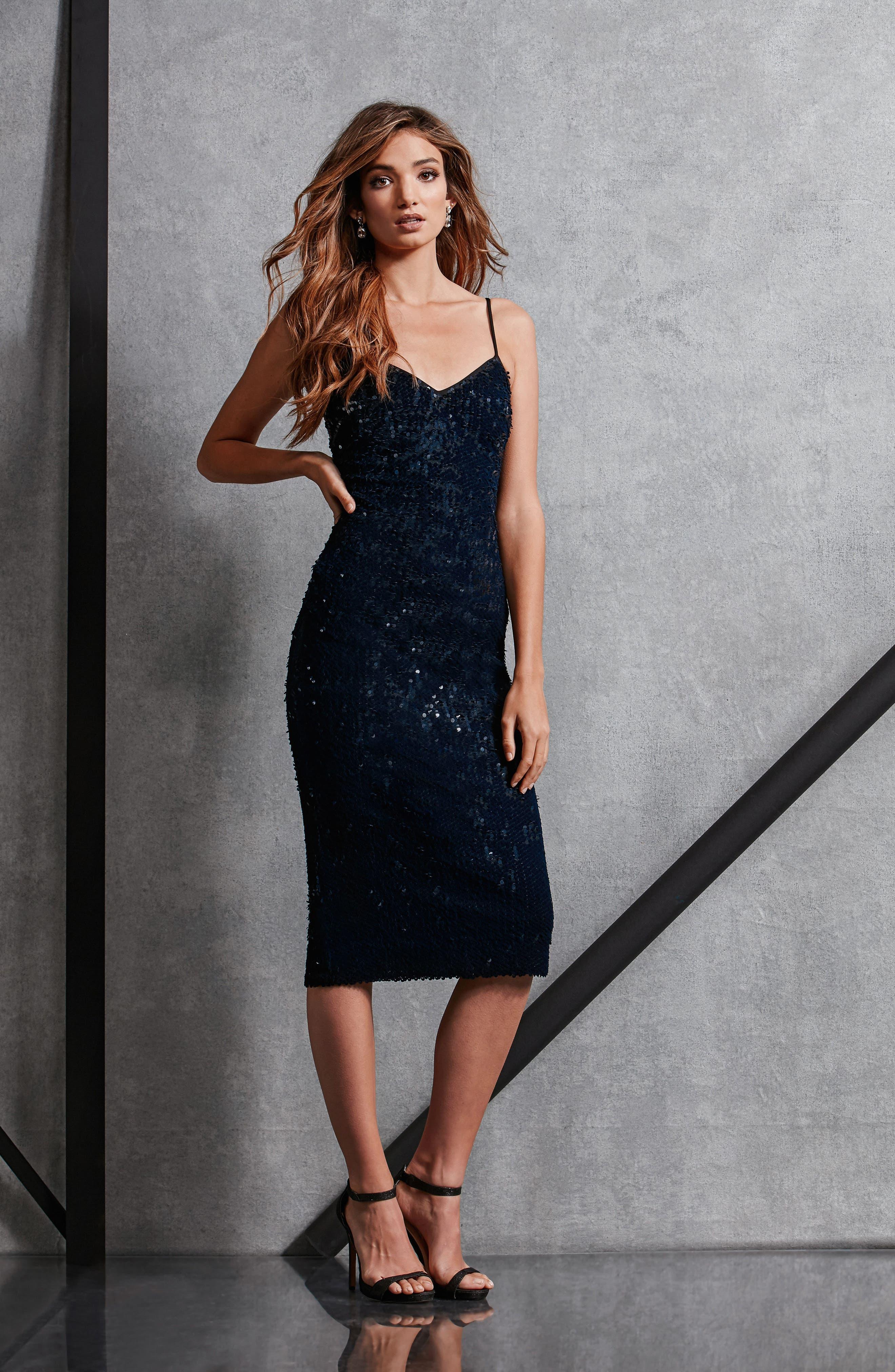 Nina Sequin Velvet Body-Con Dress,                             Alternate thumbnail 17, color,