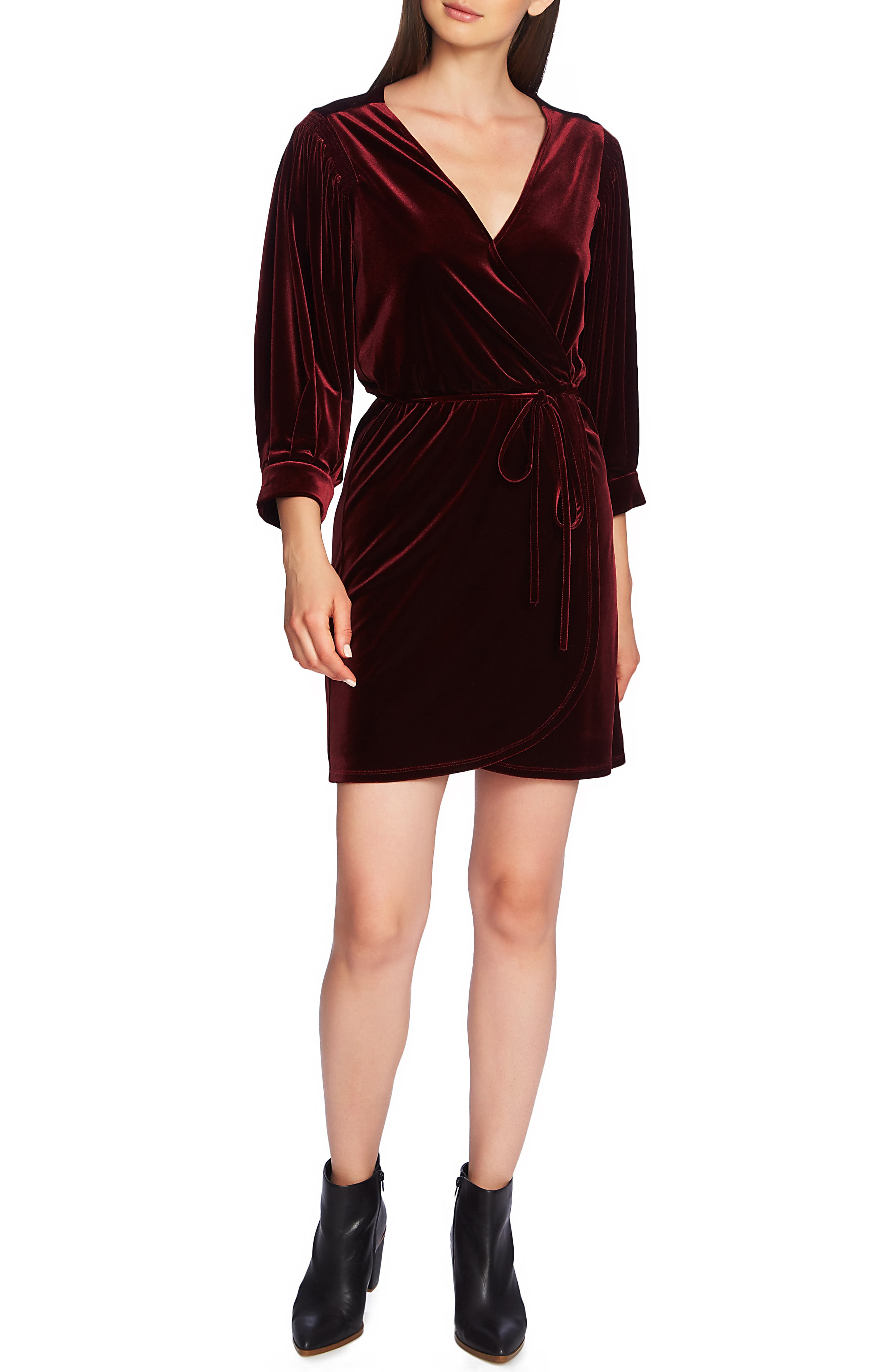 1.state Wrap Front Velvet Dress