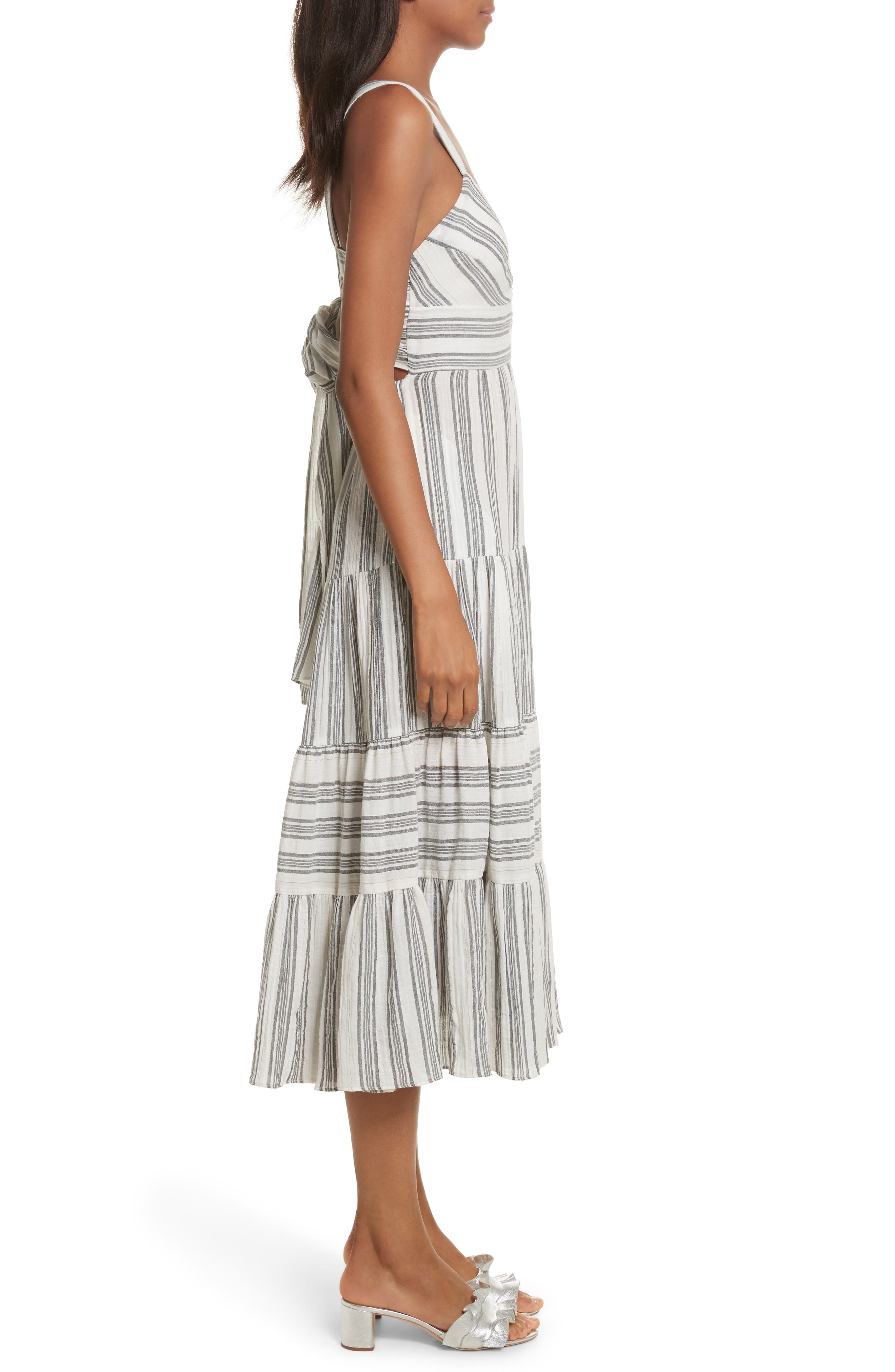 Sleeveless Gauzy Stripe Dress,                             Alternate thumbnail 3, color,                             186