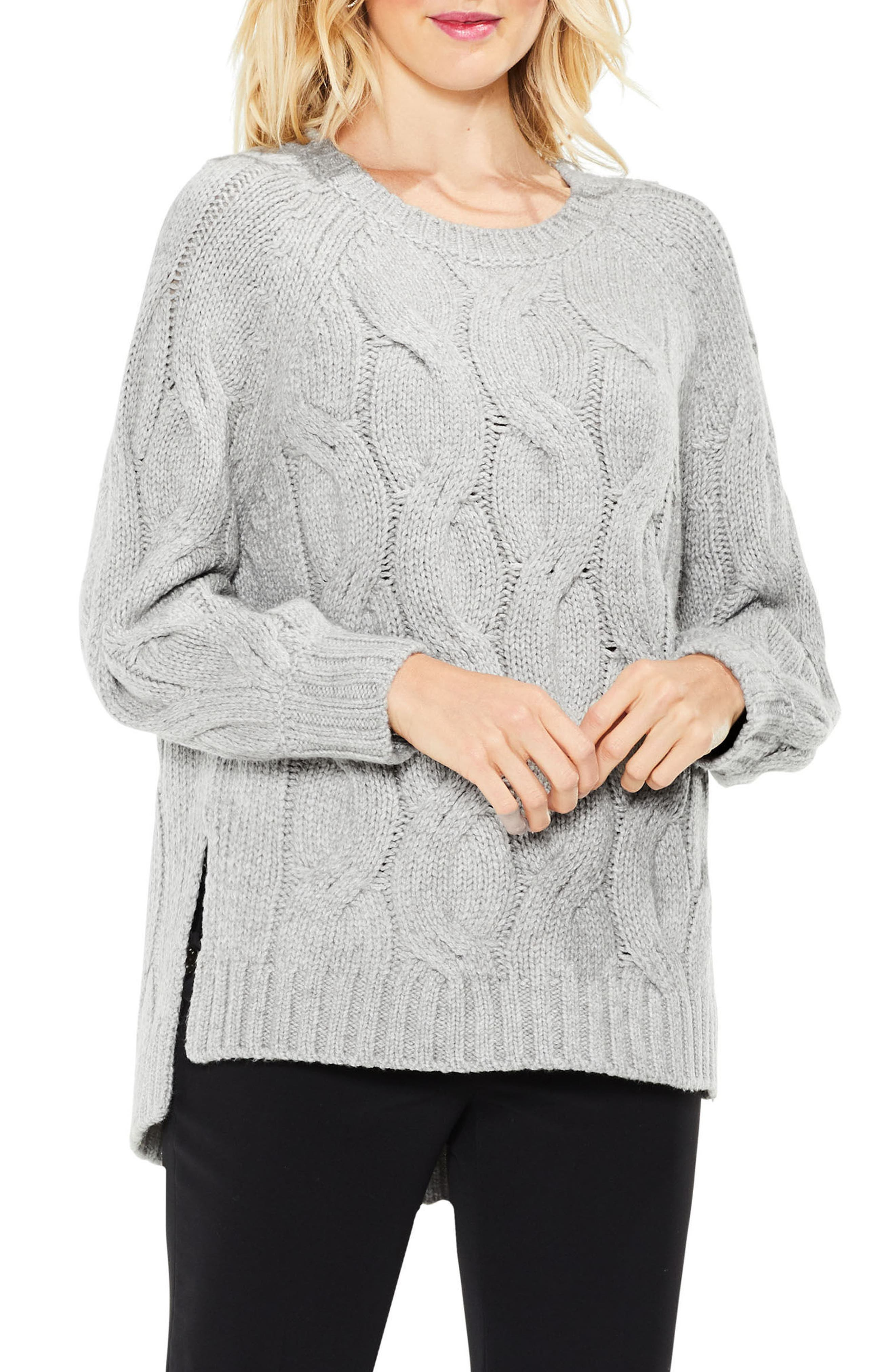 Long Sleeve Chunky Cable Sweater,                             Main thumbnail 1, color,                             078