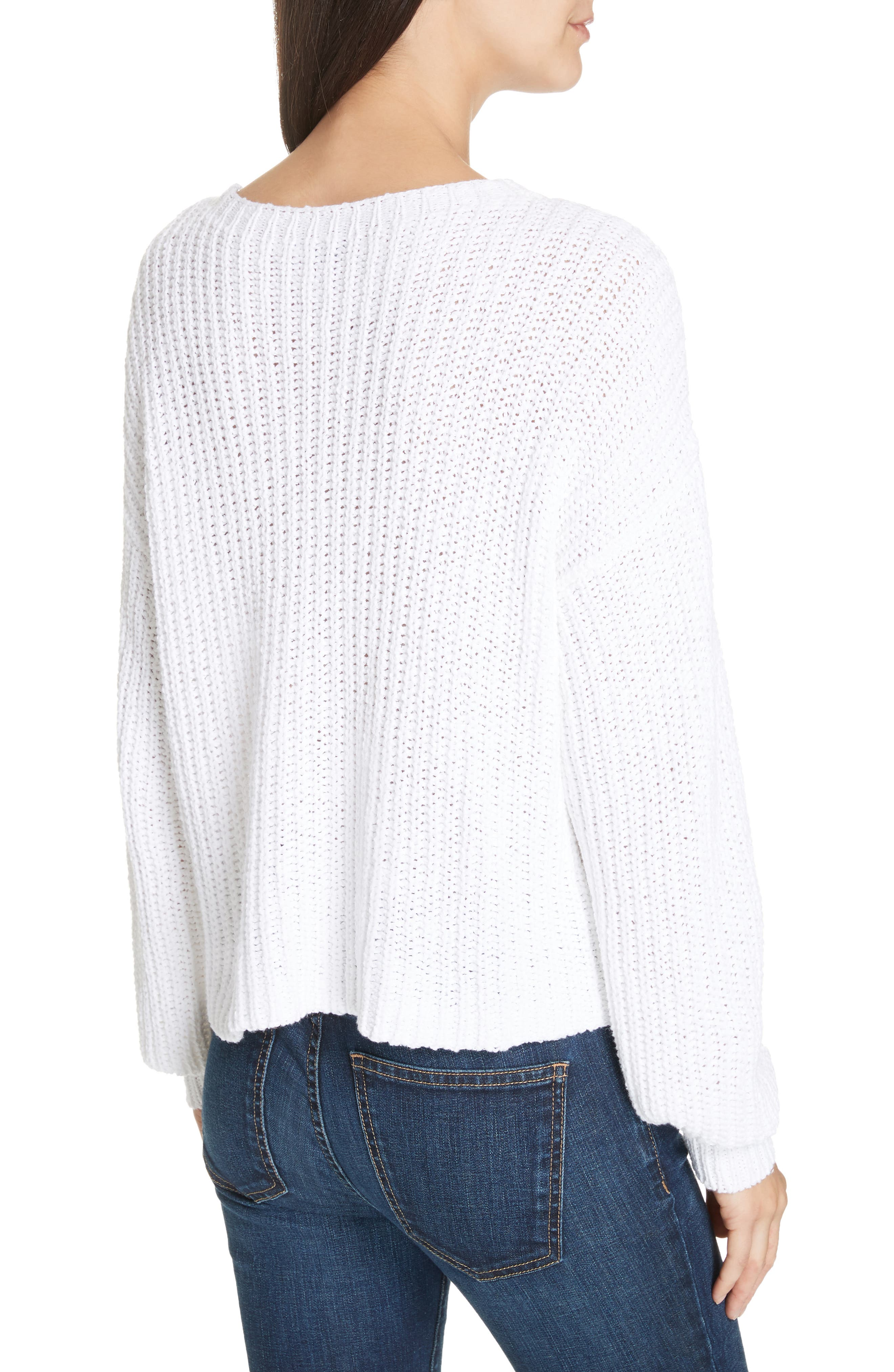 Crewneck Crop Shaker Sweater,                             Alternate thumbnail 3, color,                             WHITE