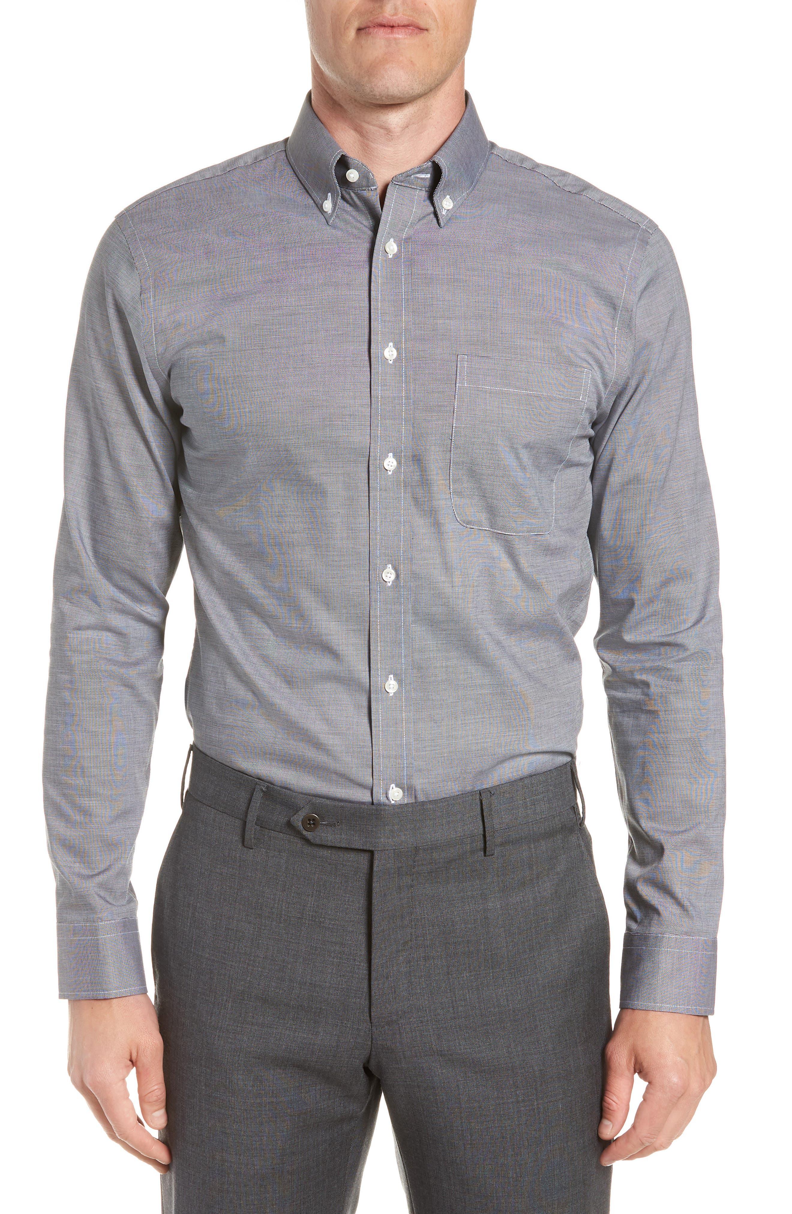 Trim Fit Non-Iron Dress Shirt,                         Main,                         color, BLACK ROCK
