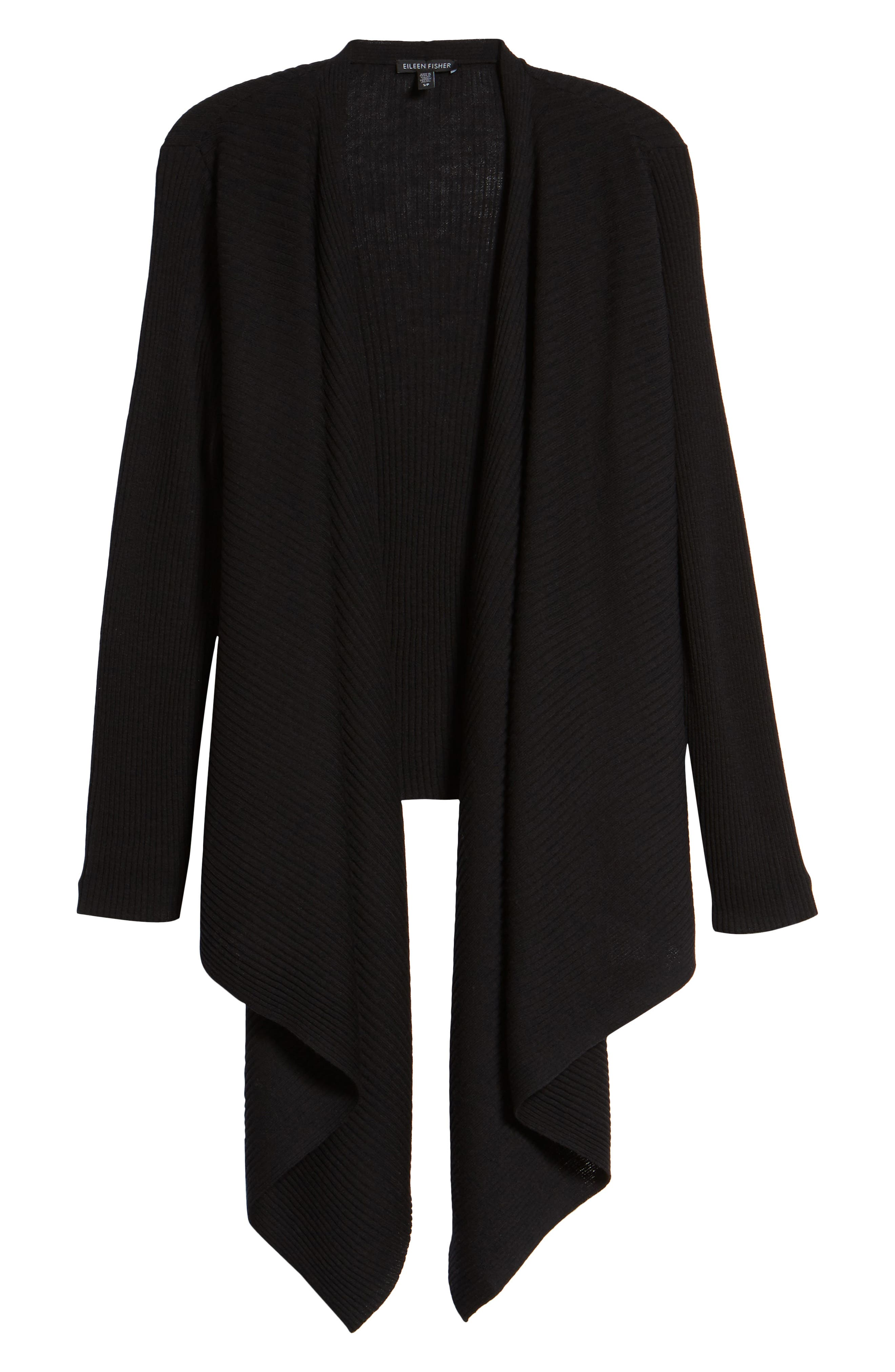 Drape Front Wool Cardigan,                             Alternate thumbnail 6, color,                             001