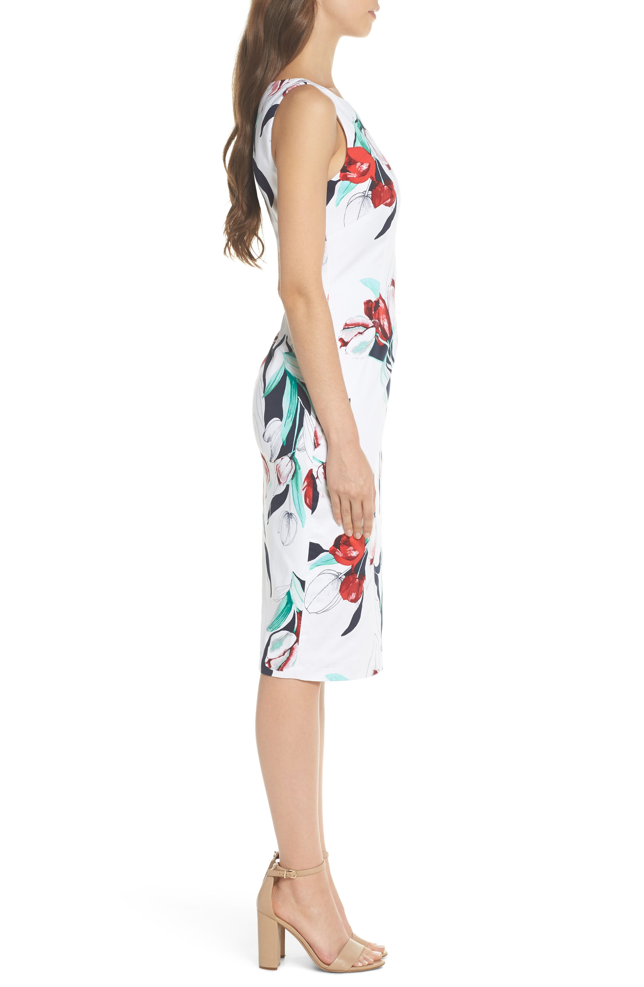 Dynasty Floral Print Stretch Sheath Dress,                             Alternate thumbnail 3, color,                             607