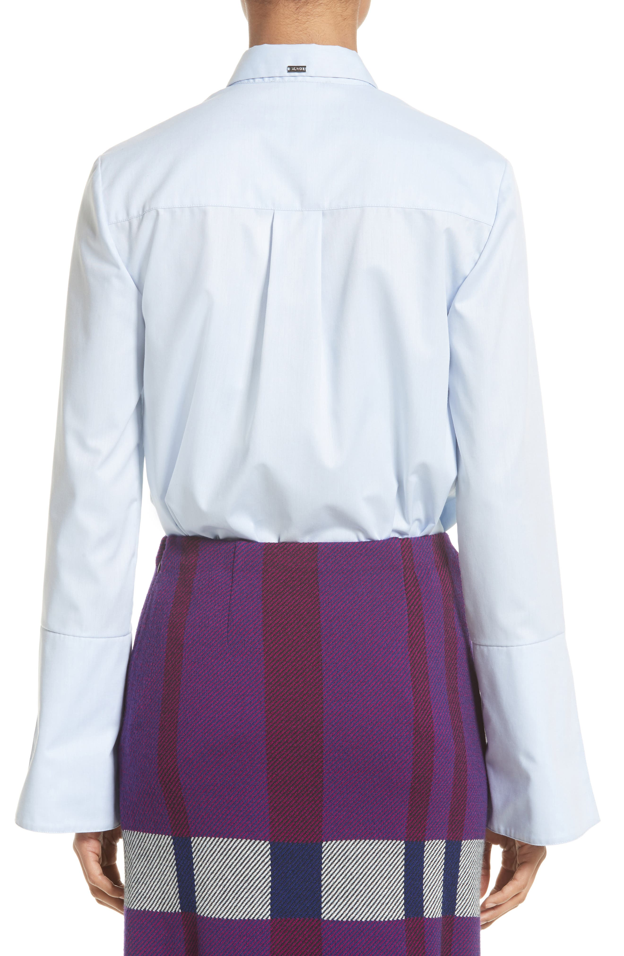 Bell Sleeve High/Low Oxford Shirt,                             Alternate thumbnail 2, color,                             420