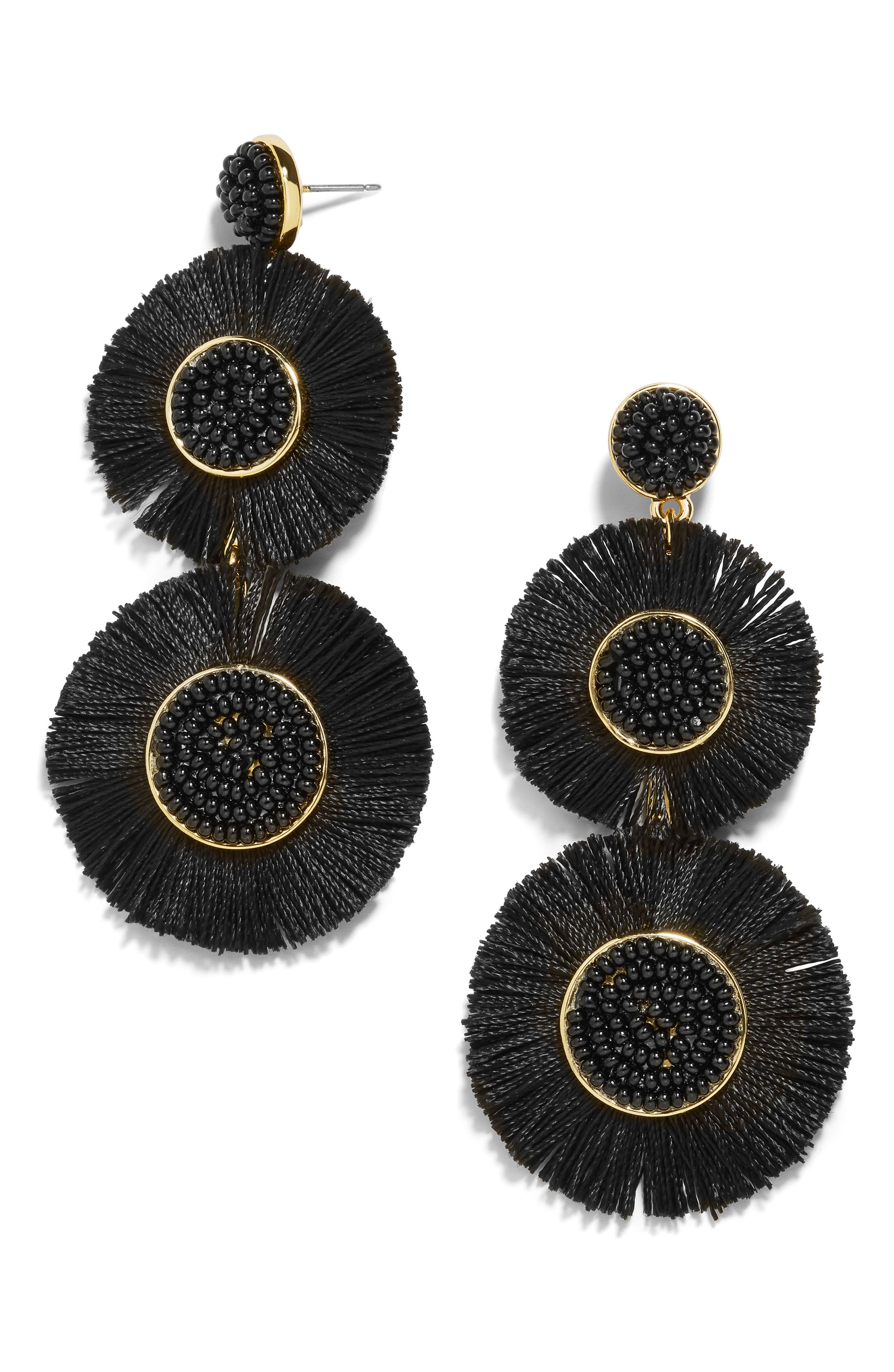 Mariette Fringe Earrings,                         Main,                         color, BLACK