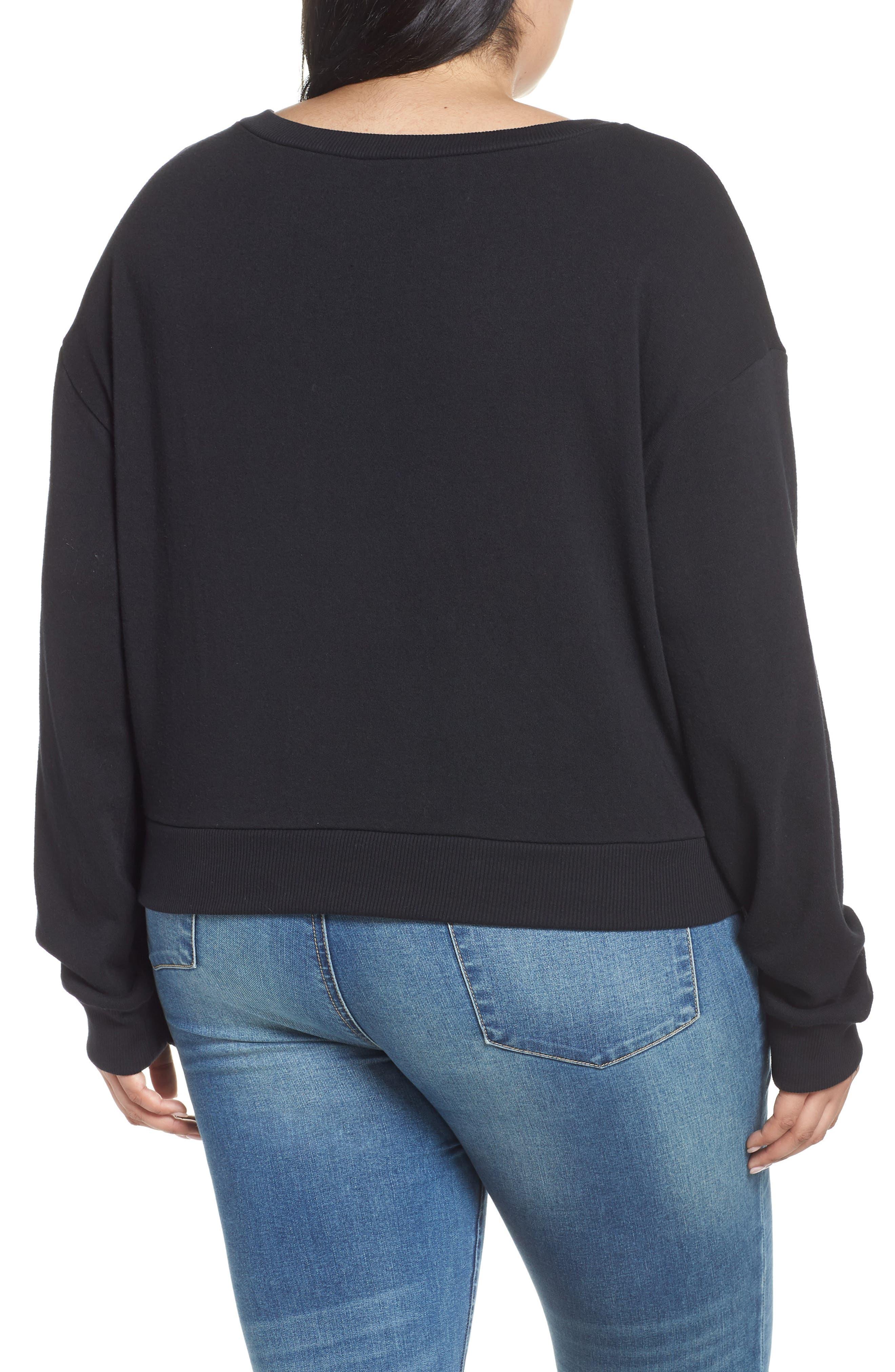 Belted Fleece Sweatshirt,                             Alternate thumbnail 2, color,                             001