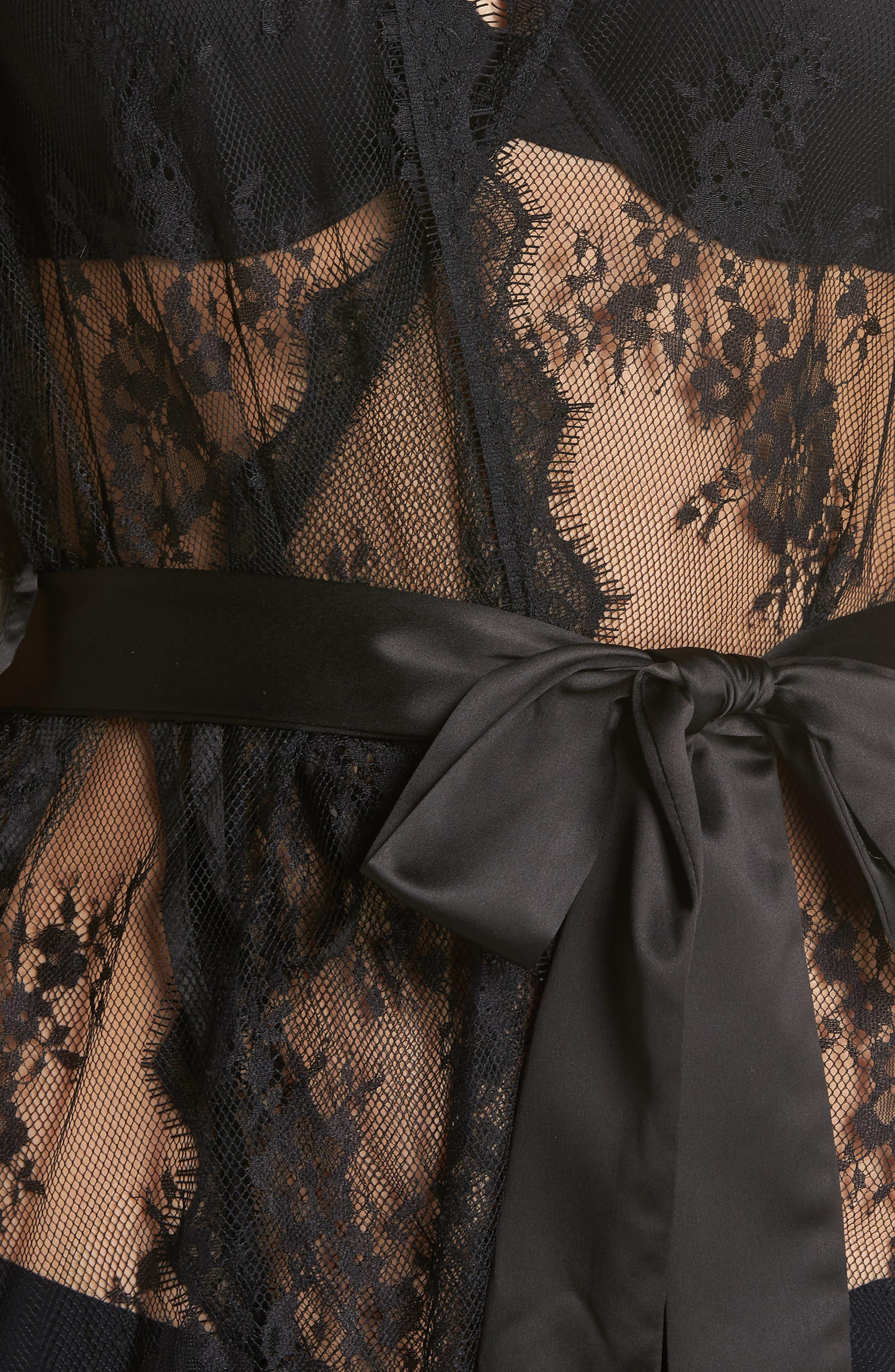 Saria Sheer Lace Robe,                             Alternate thumbnail 5, color,                             BLACK