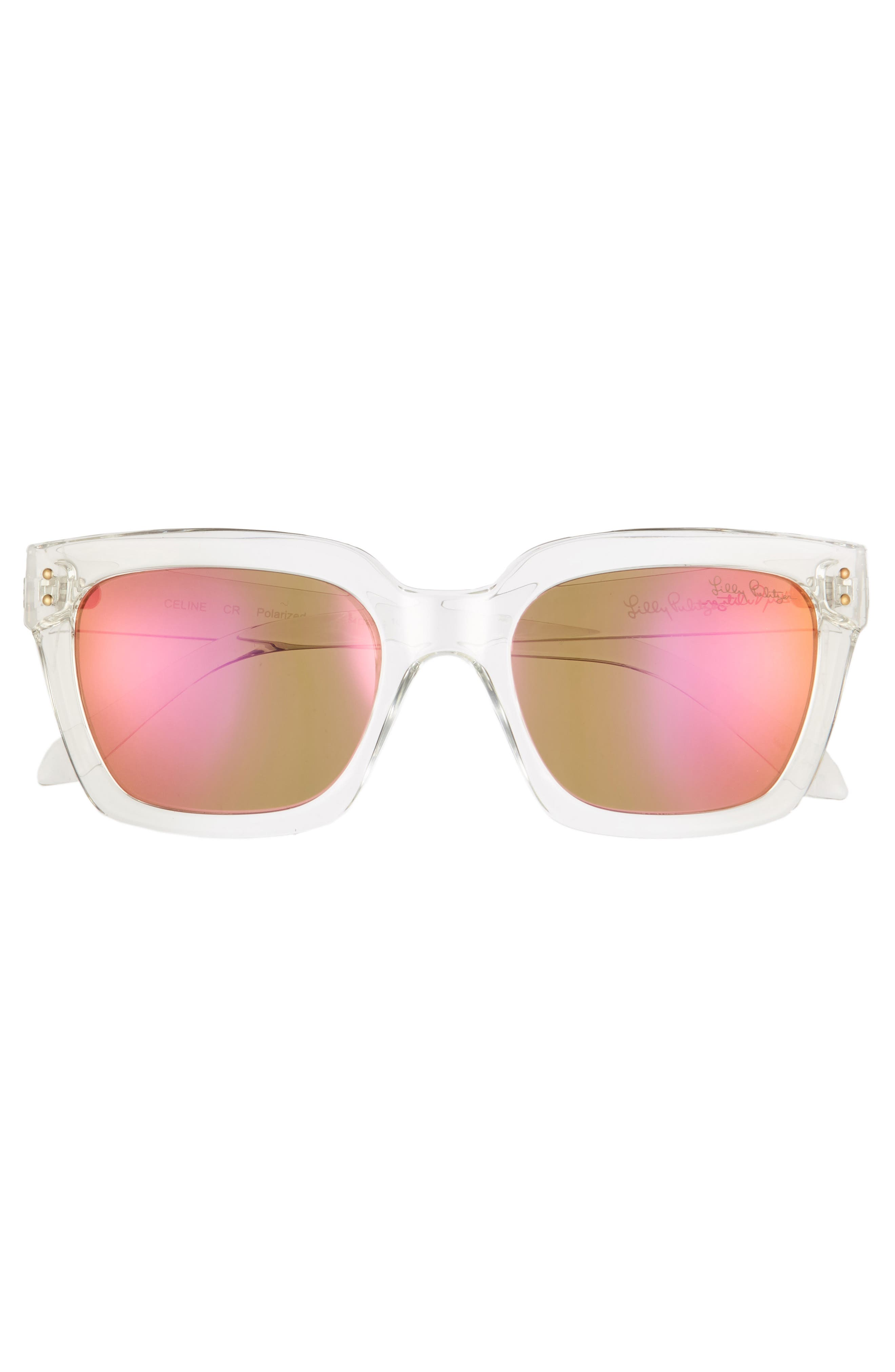 LILLY PULITZER<SUP>®</SUP>,                             Lilly Pulitzer Celine 54mm Polarized Square Sunglasses,                             Alternate thumbnail 3, color,                             CRYSTAL CLEAR/ PINK MIRROR
