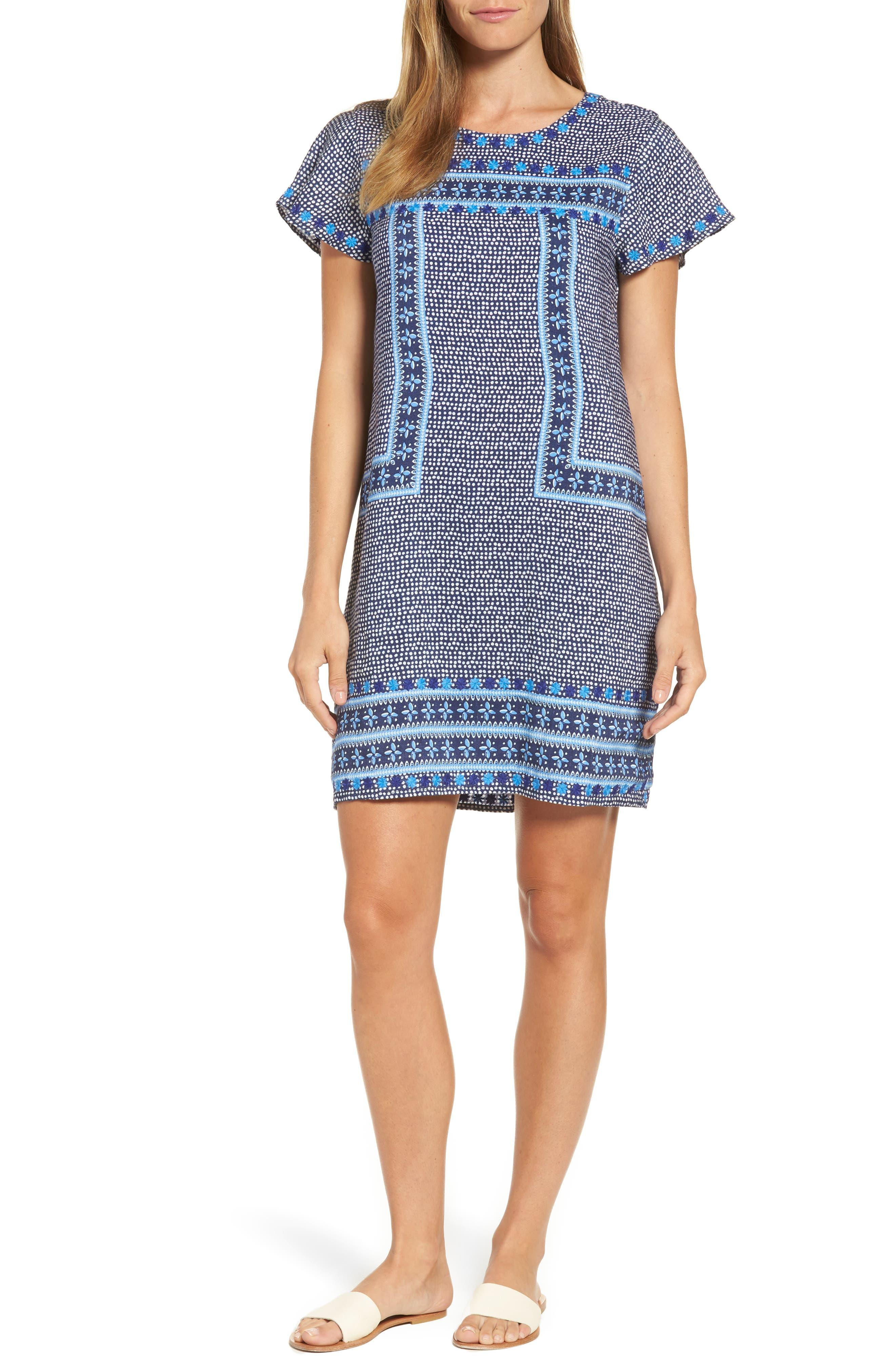 Dot Border Shift Dress,                         Main,                         color, 476