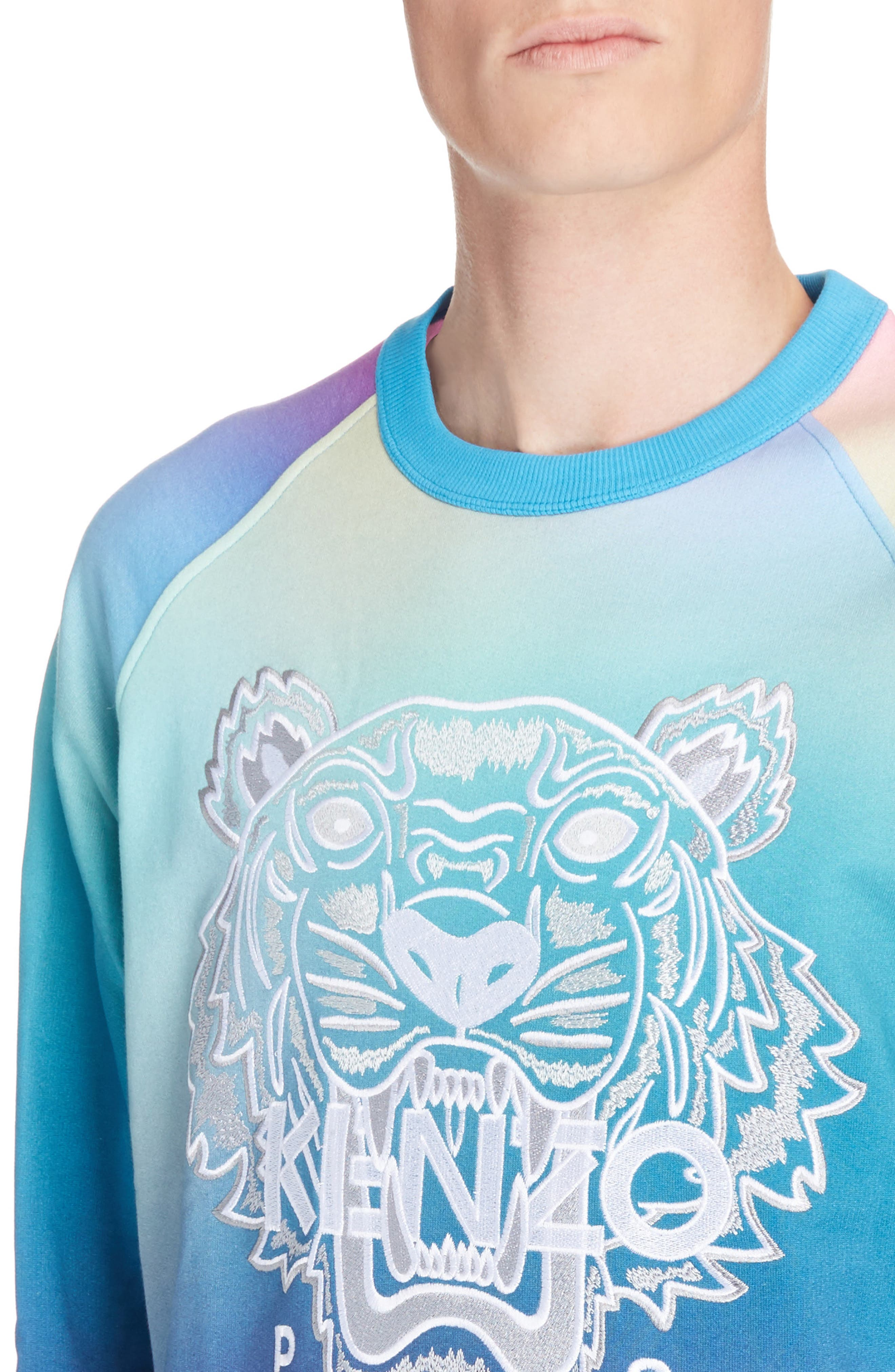 Rainbow Embroidered Tiger Sweatshirt,                             Alternate thumbnail 4, color,                             CYAN BLUE