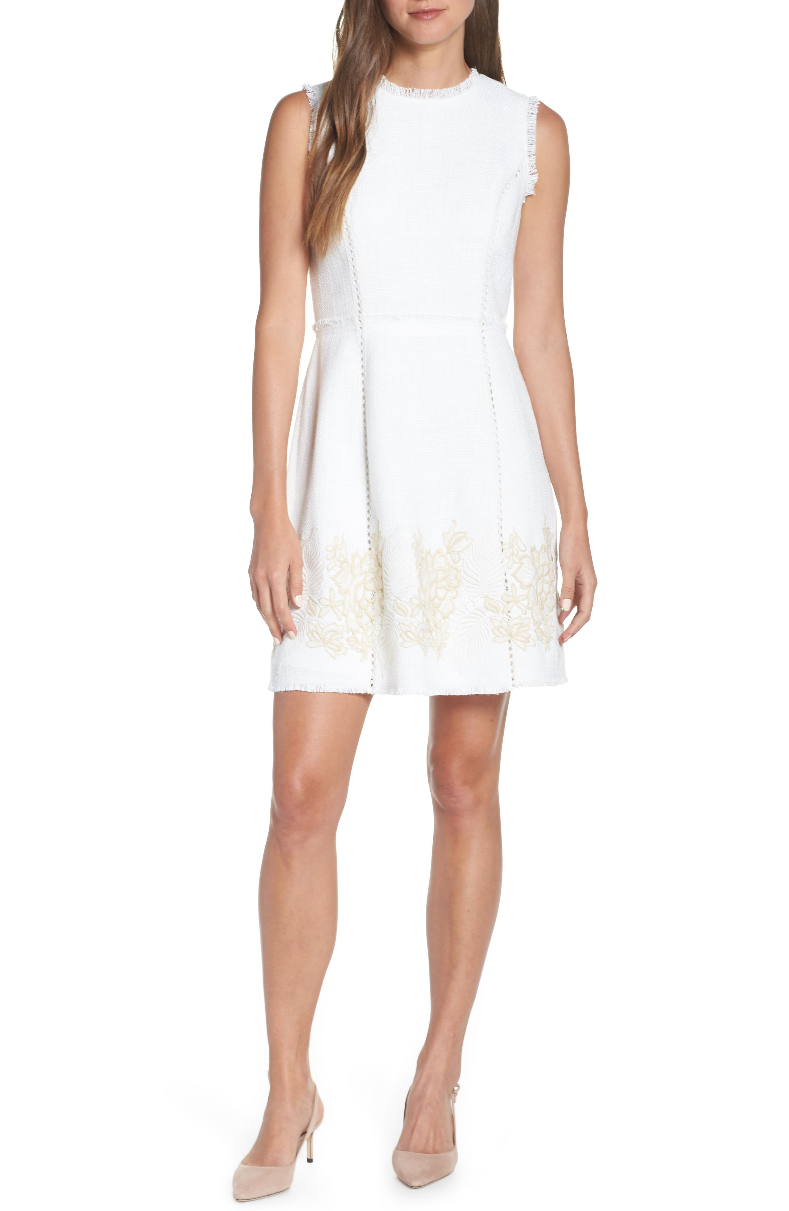 Vince Camuto Embroidered Tweed Dress, Ivory