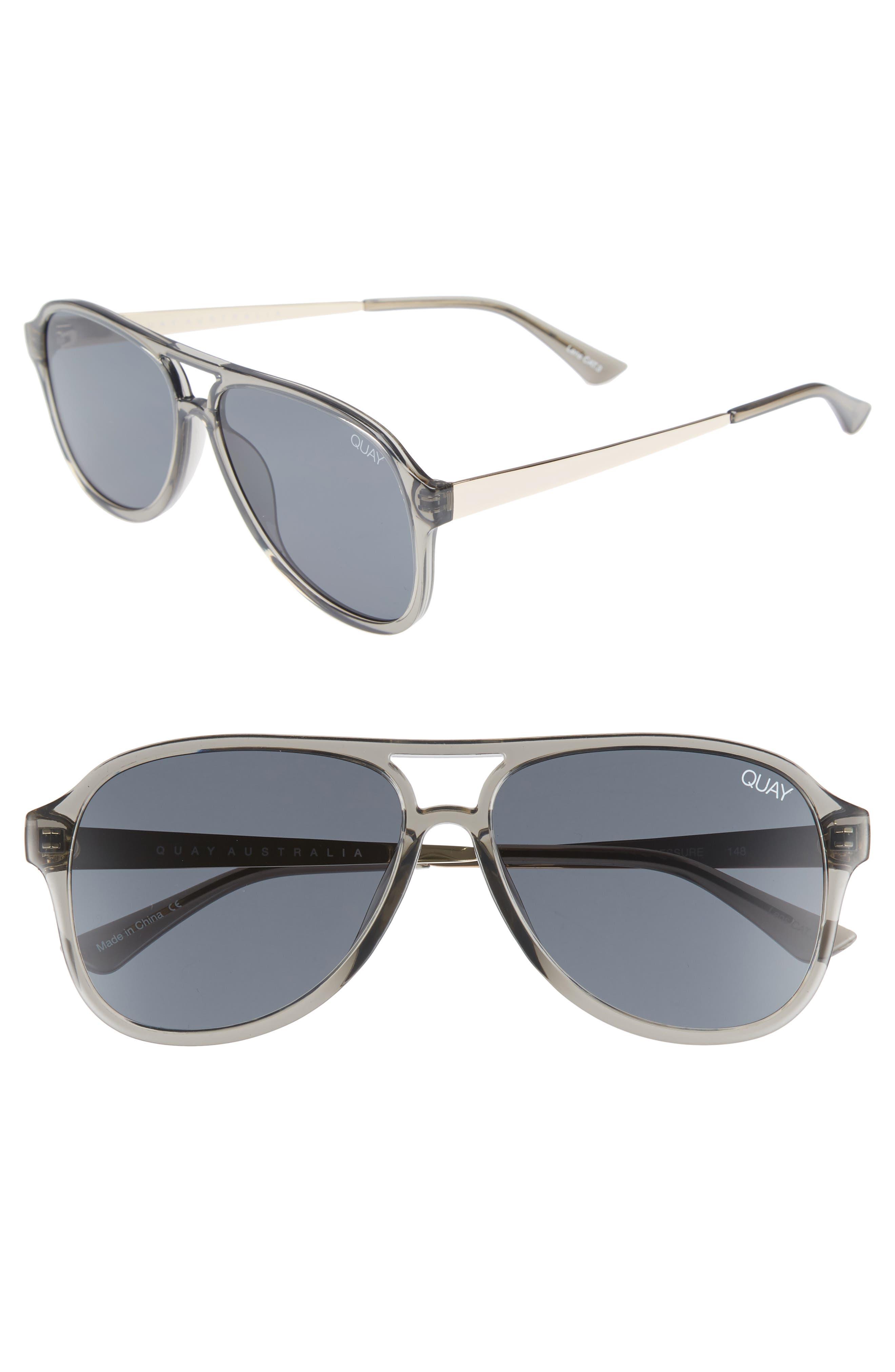 Quay Australia Under Pressure 5m Aviator Sunglasses - Grey/ Smoke