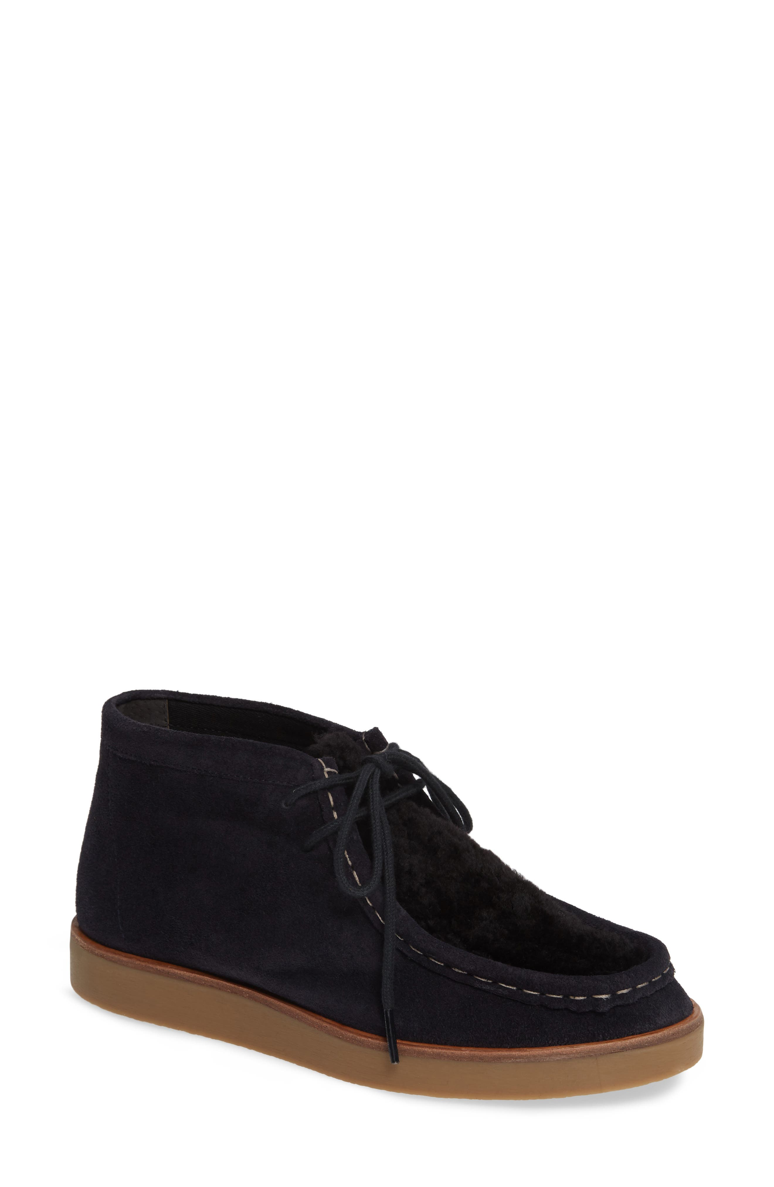 The Great. The Trooper Genuine Shearling Lined Shoe- Blue