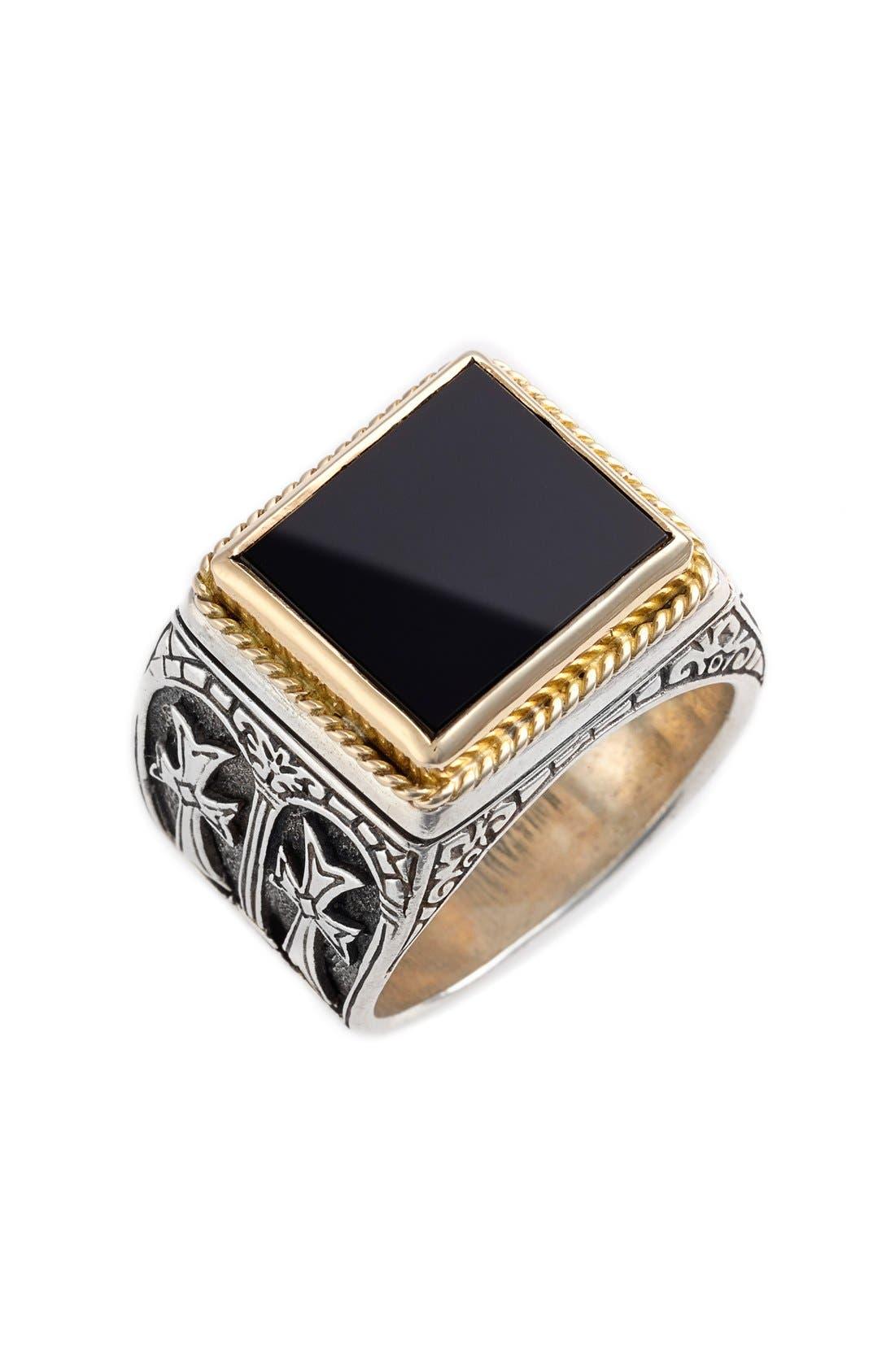'Minos' Side Cross Ring,                             Main thumbnail 1, color,                             SILVER/ GOLD/ BLACK ONYX