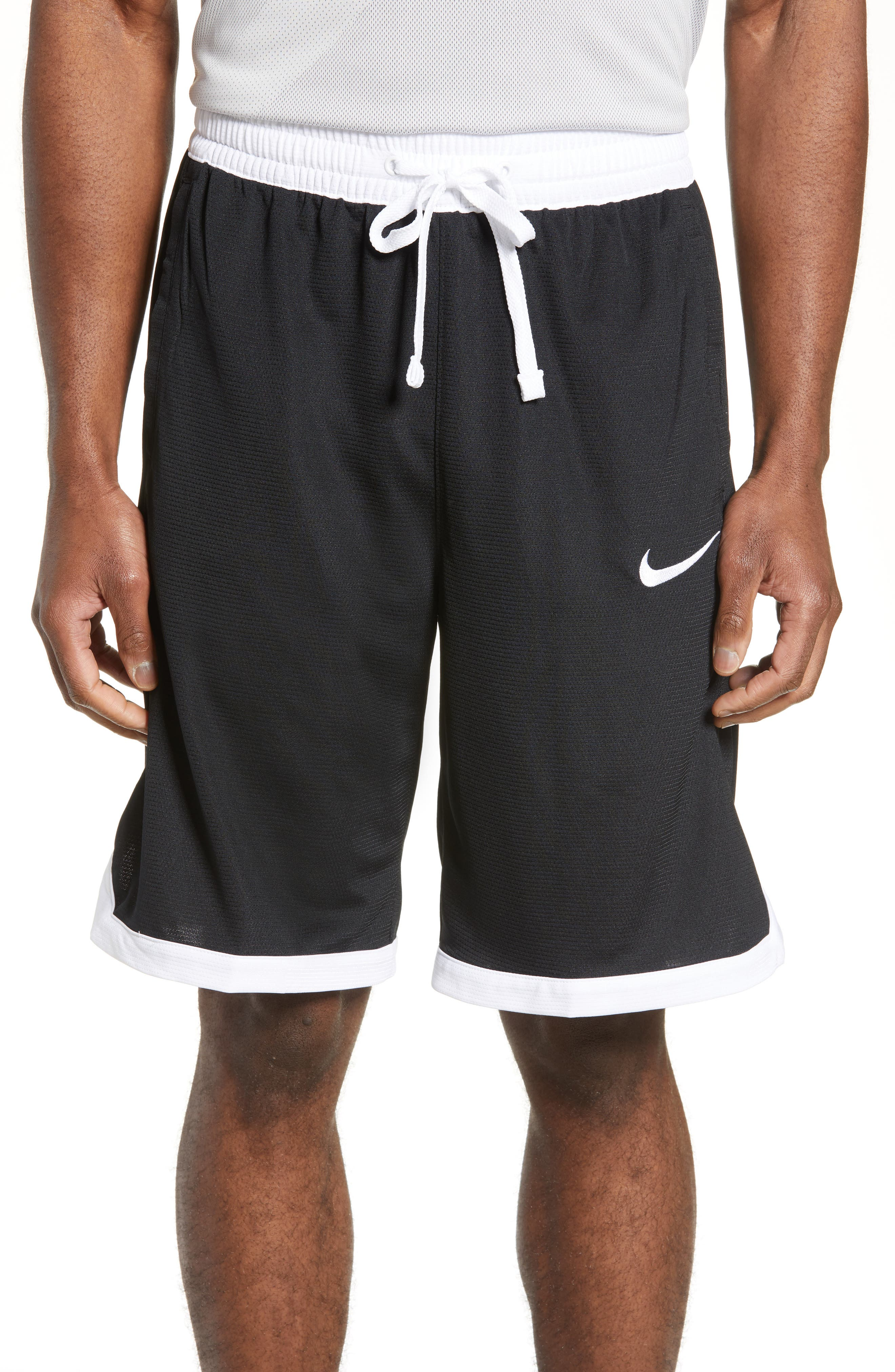 NIKE,                             Dry Elite Stripe Basketball Shorts,                             Main thumbnail 1, color,                             BLACK/ WHITE/ WHITE/ WHITE