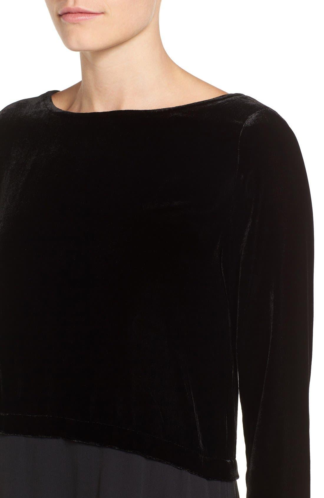 Velvet & Silk Midi Length Shift Dress,                             Alternate thumbnail 4, color,                             001