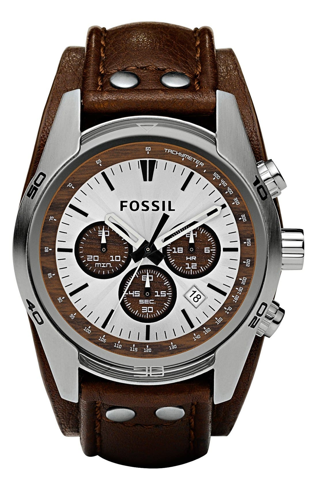 FOSSIL,                             Chronograph Cuff Watch, 44mm,                             Alternate thumbnail 4, color,                             BROWN