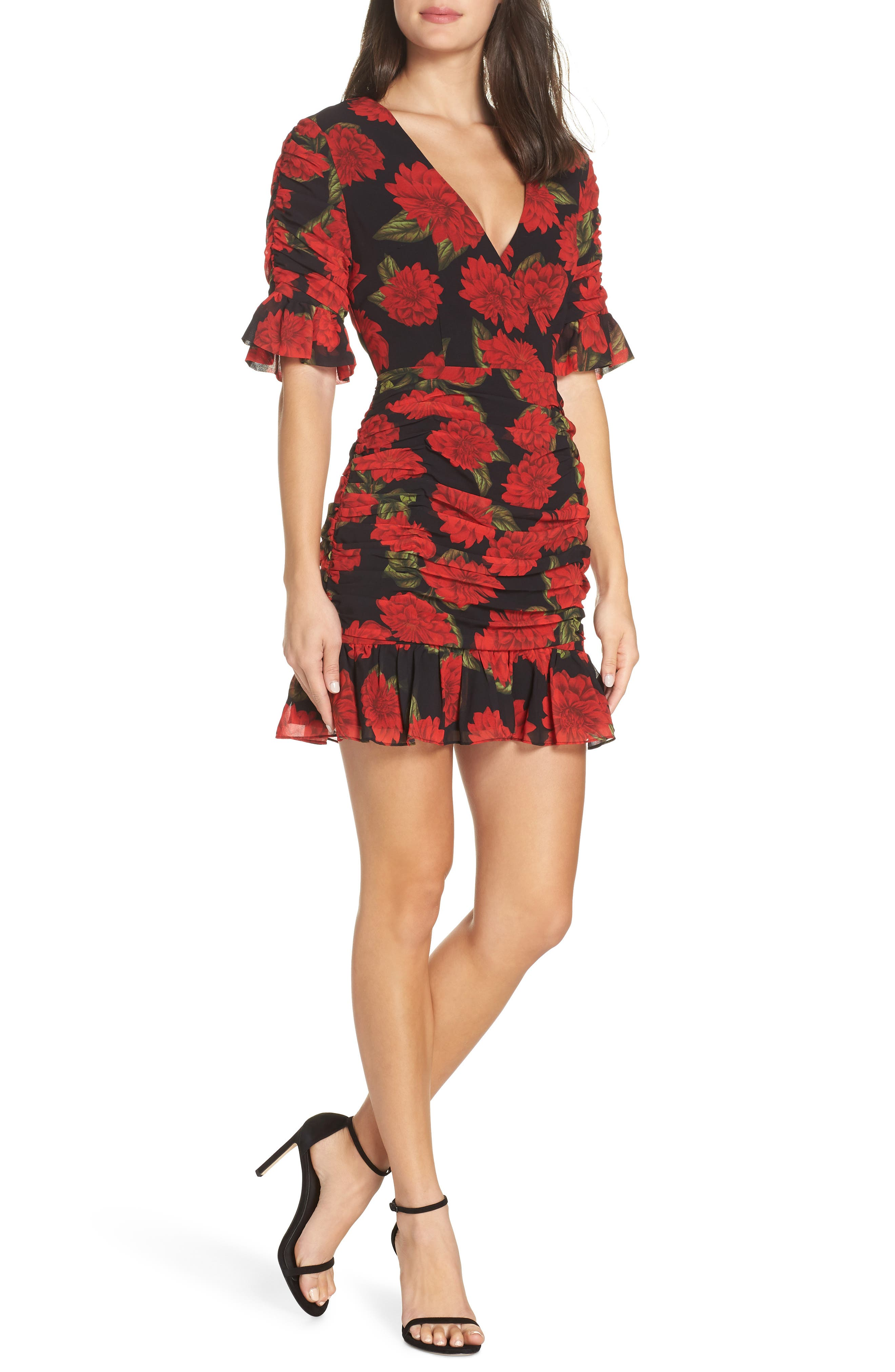 Find You Floral Dress,                             Main thumbnail 1, color,                             BLACK DAHLIA
