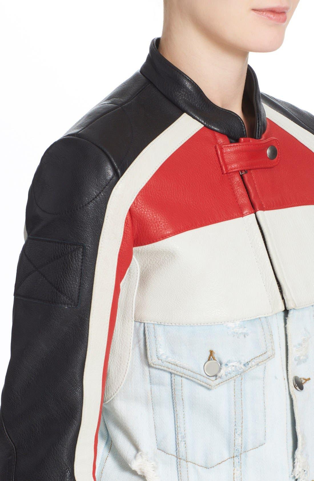 Hybrid Moto & Denim Jacket,                             Alternate thumbnail 6, color,                             001