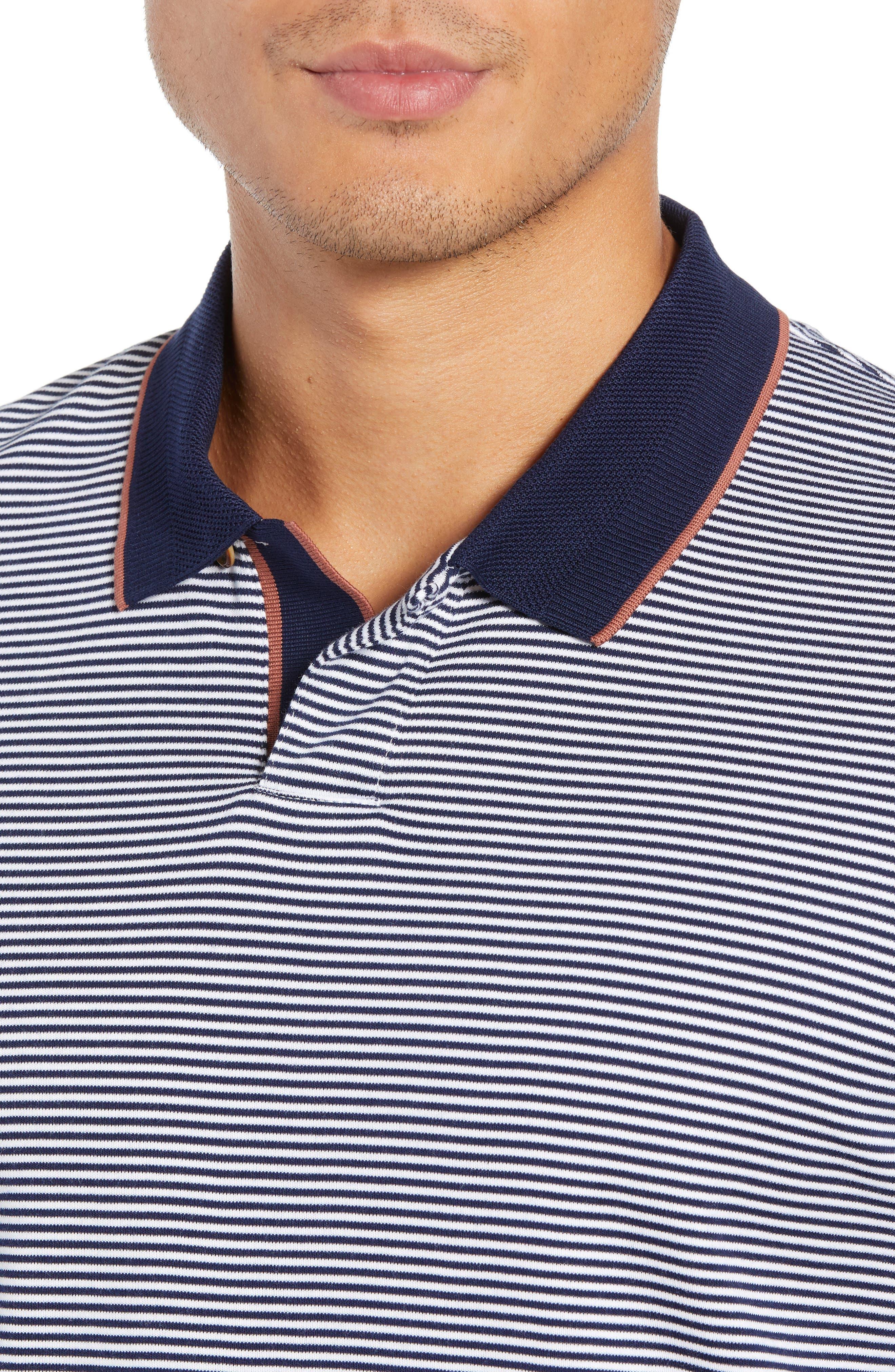 Gingen Trim Fit Stripe Polo,                             Alternate thumbnail 4, color,                             NAVY