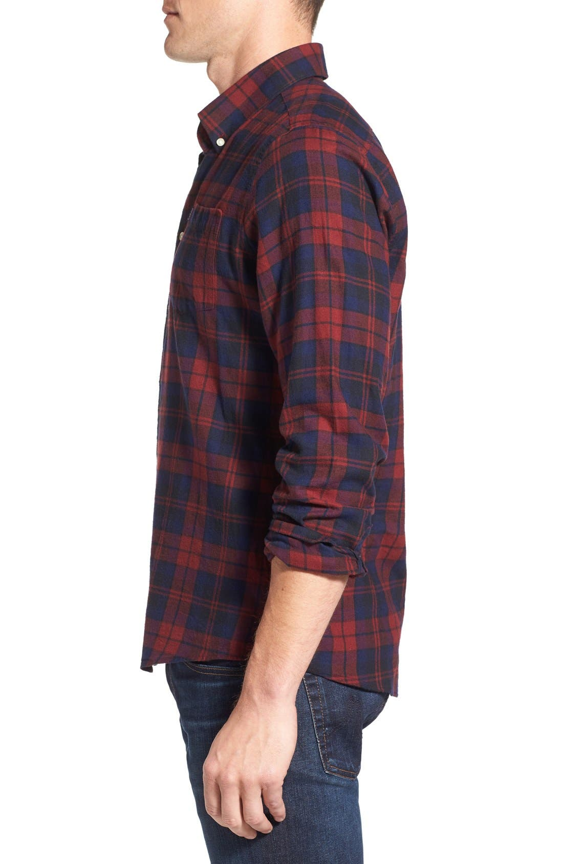 Seth Tailored Fit Plaid Sport Shirt,                             Alternate thumbnail 12, color,