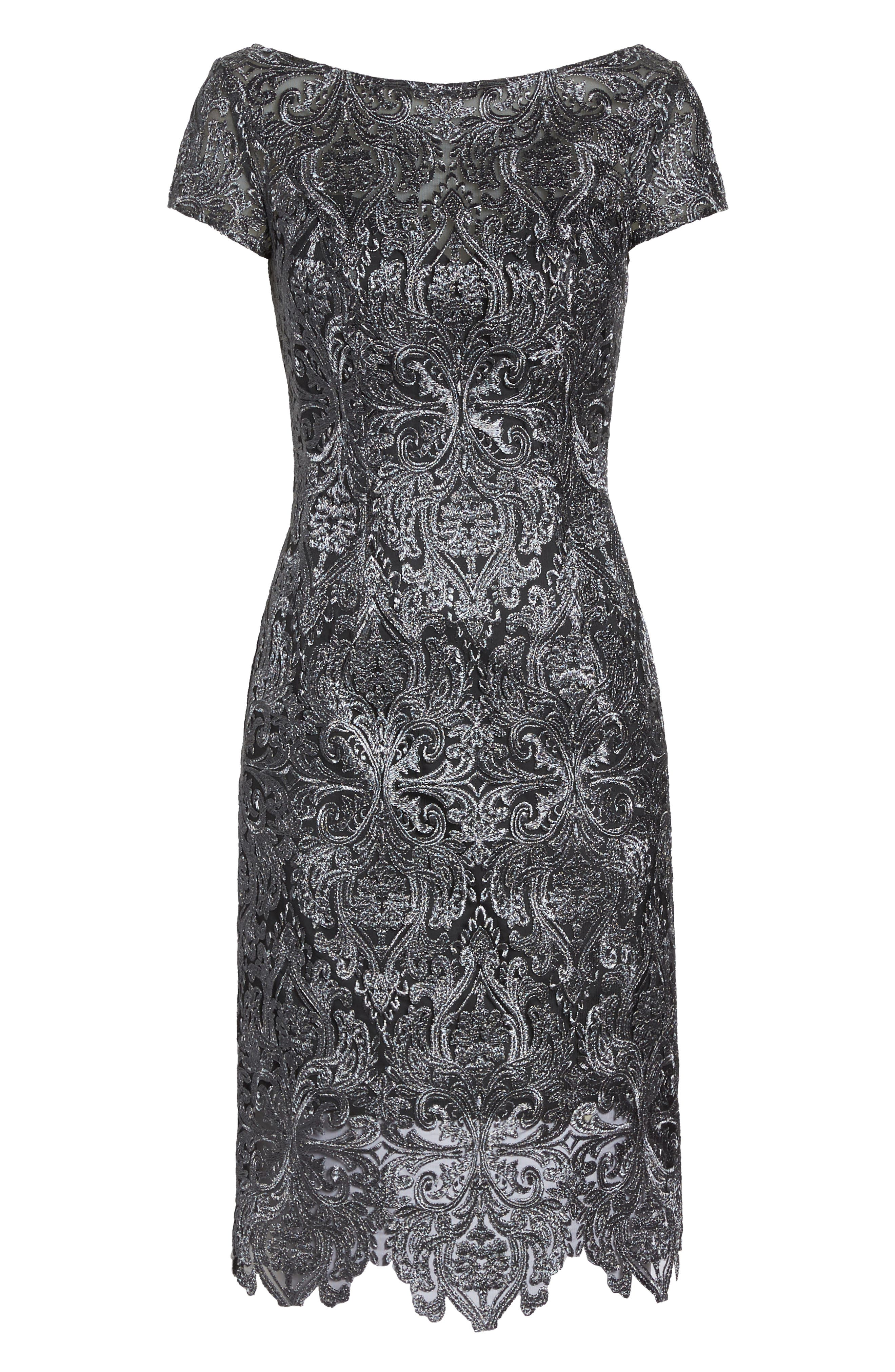Lace Bateau Neck Dress,                             Alternate thumbnail 6, color,                             GUNMETAL