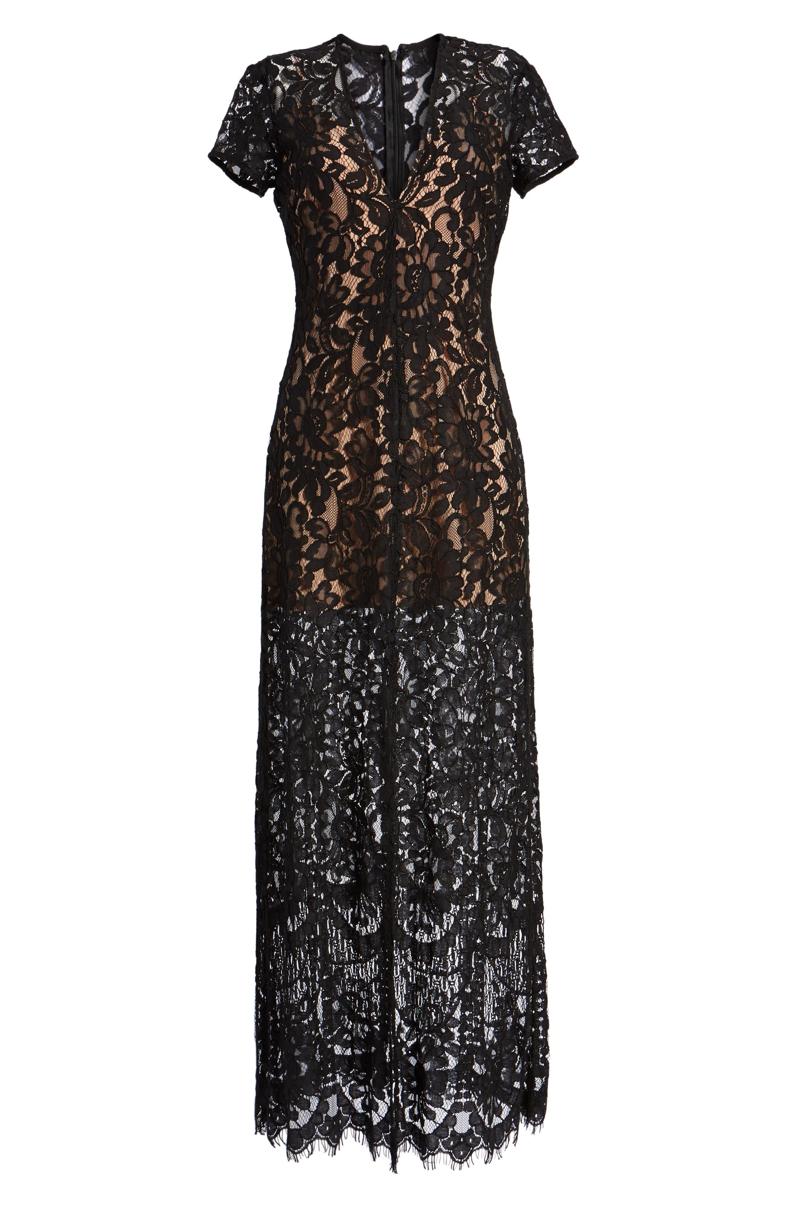V-Neck Lace Maxi Dress,                             Alternate thumbnail 6, color,                             001