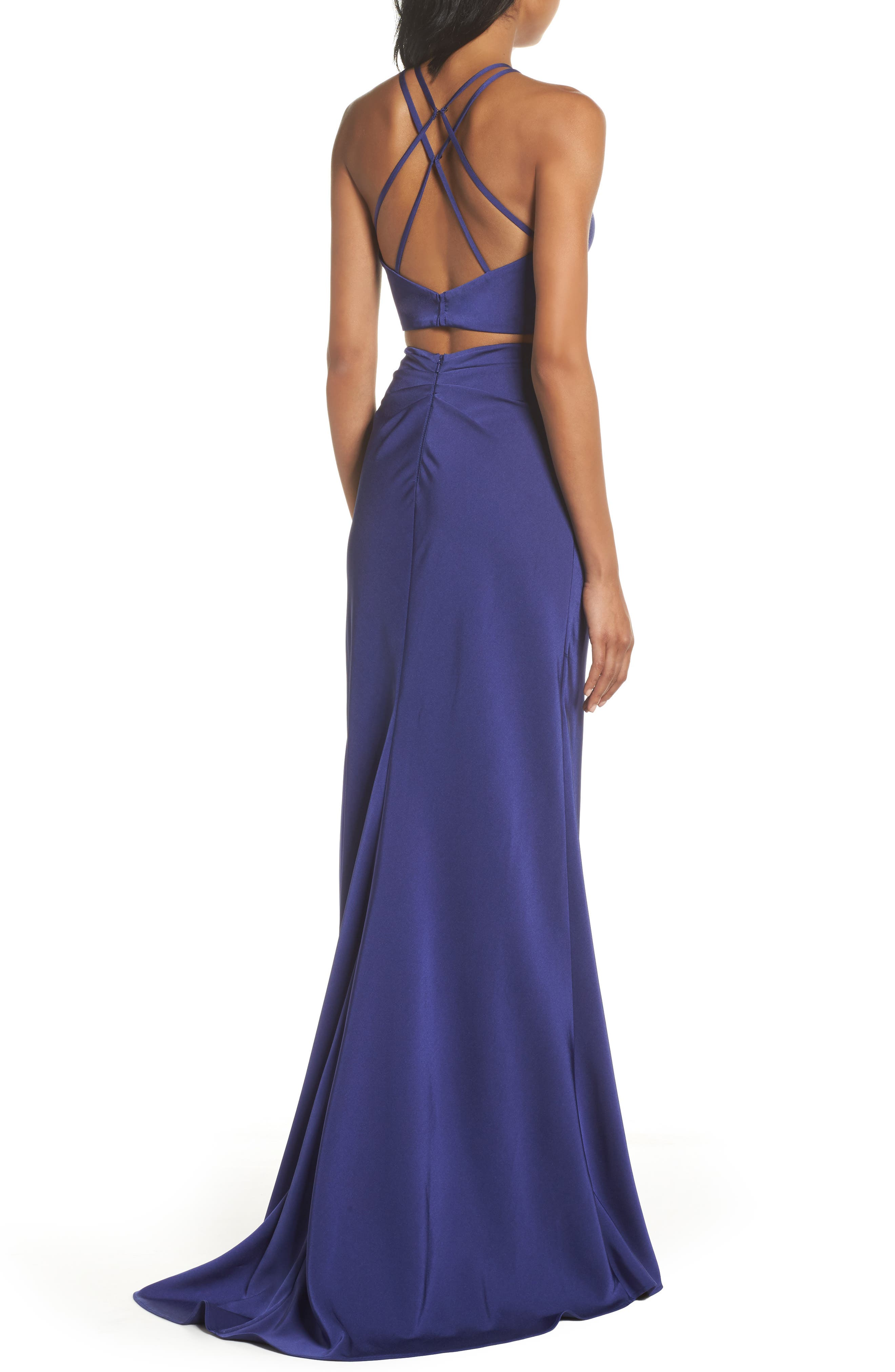 Strappy Two-Piece Sheath Gown,                             Alternate thumbnail 2, color,                             DARK PERIWINKLE