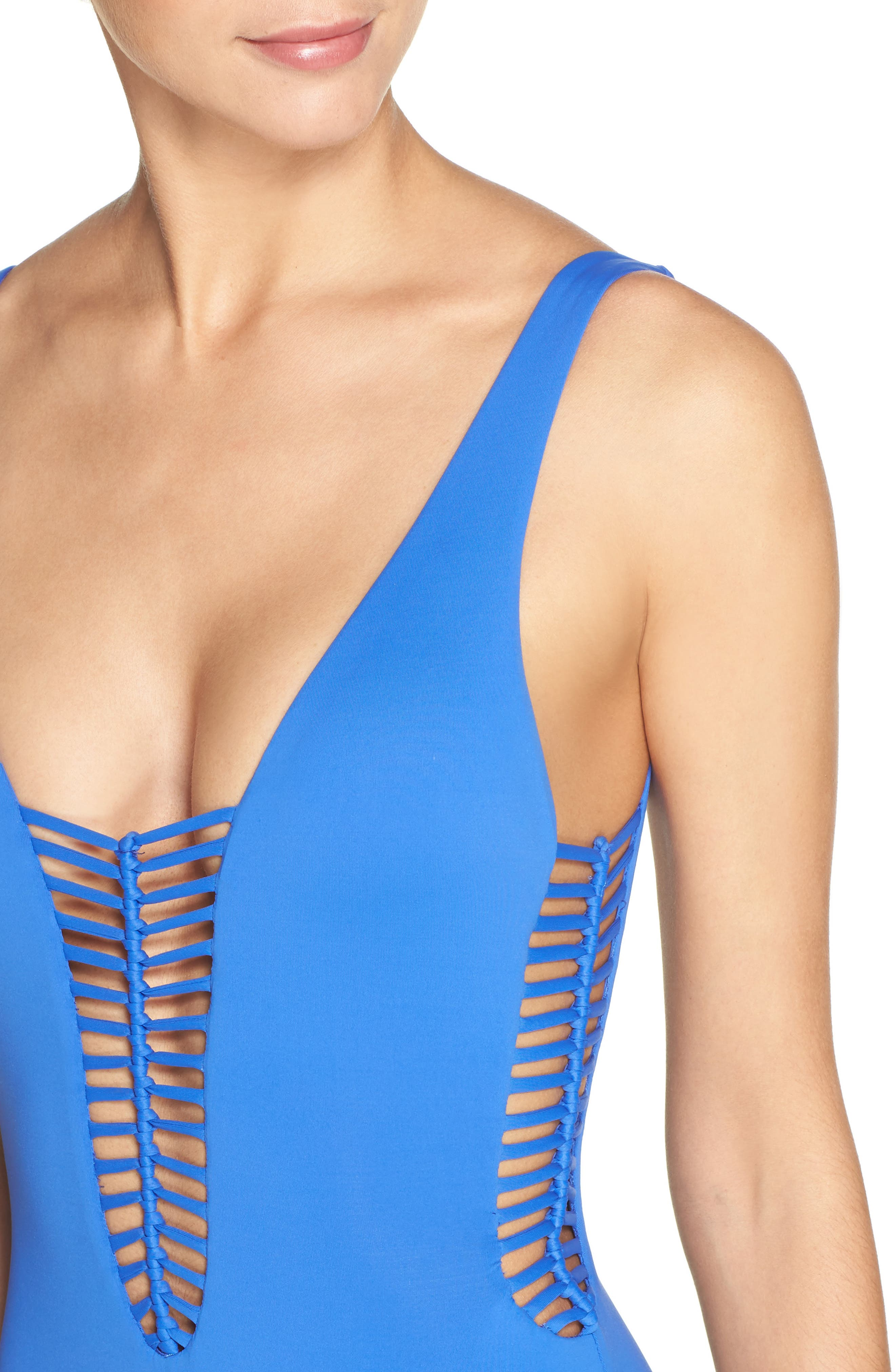 No Strings Attached One-Piece Swimsuit,                             Alternate thumbnail 4, color,                             400
