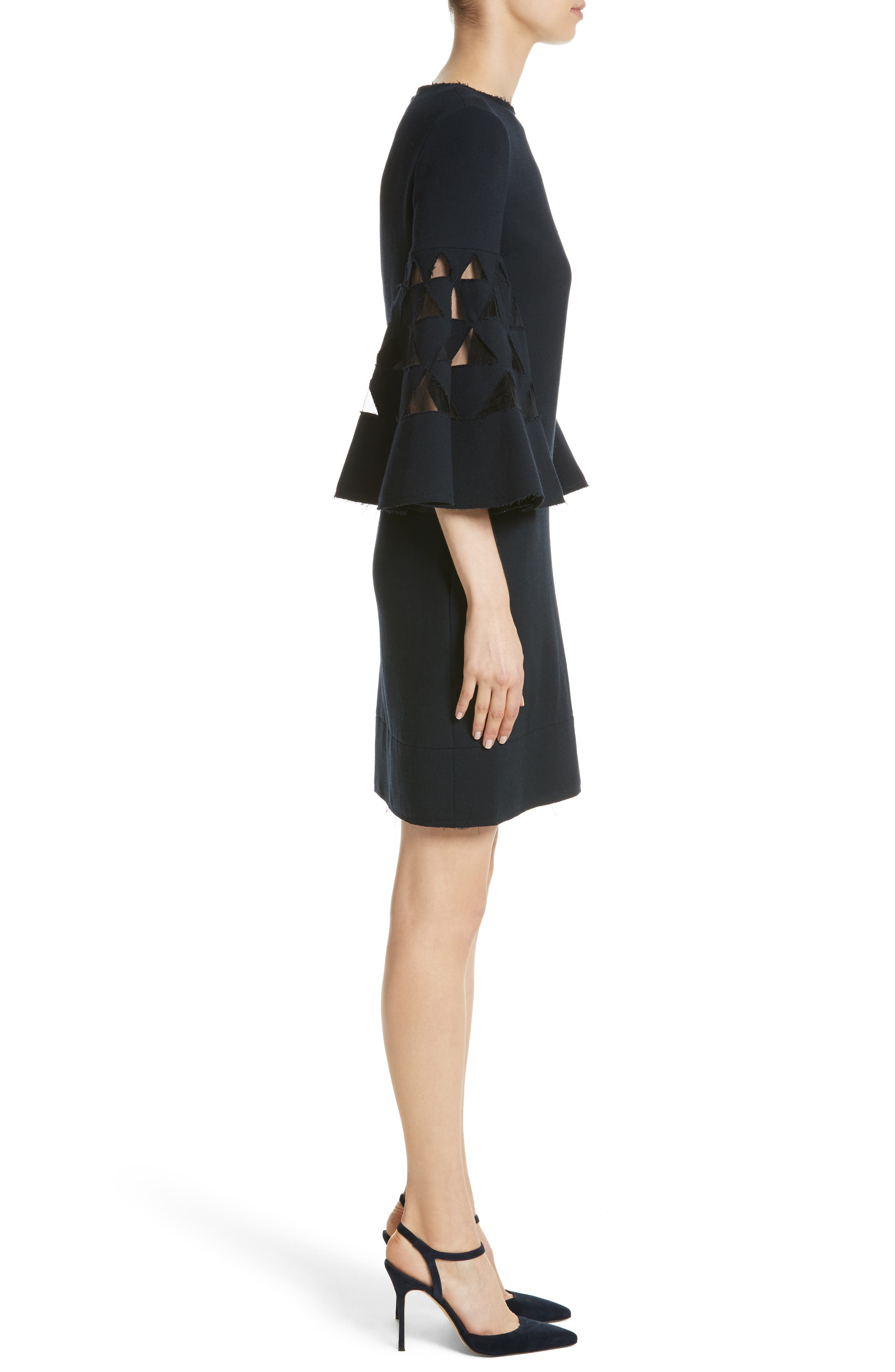 Cutout Bell Sleeve Stretch Wool Crepe Shift Dress,                             Alternate thumbnail 3, color,                             415