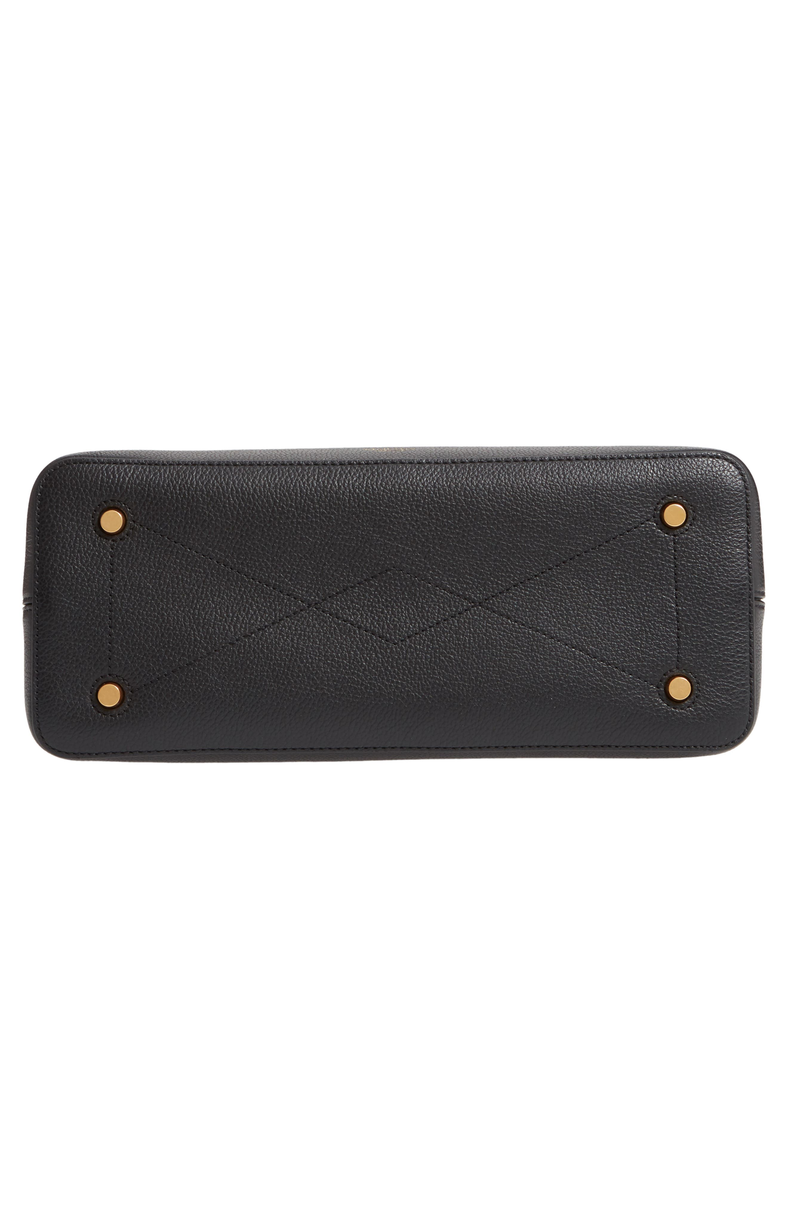MULBERRY,                             Small Seaton Leather Top Handle Satchel,                             Alternate thumbnail 6, color,                             BLACK