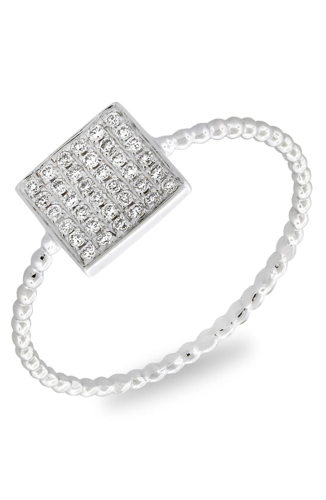 Aurora Diamond Pavé Square Ring,                         Main,                         color, WHITE GOLD