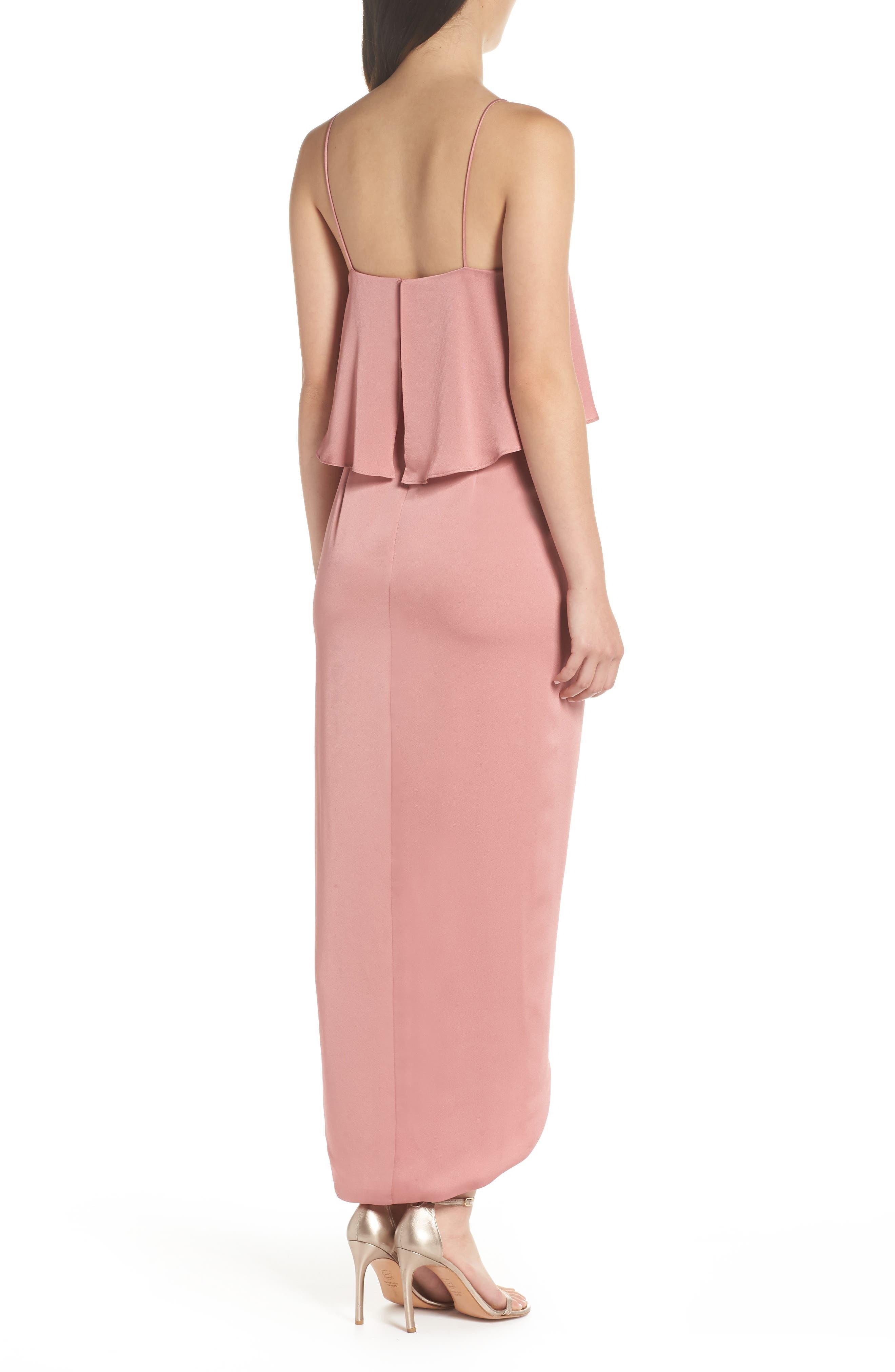 Luxe Frill Tulip Hem Maxi Dress,                             Alternate thumbnail 2, color,                             ROSE