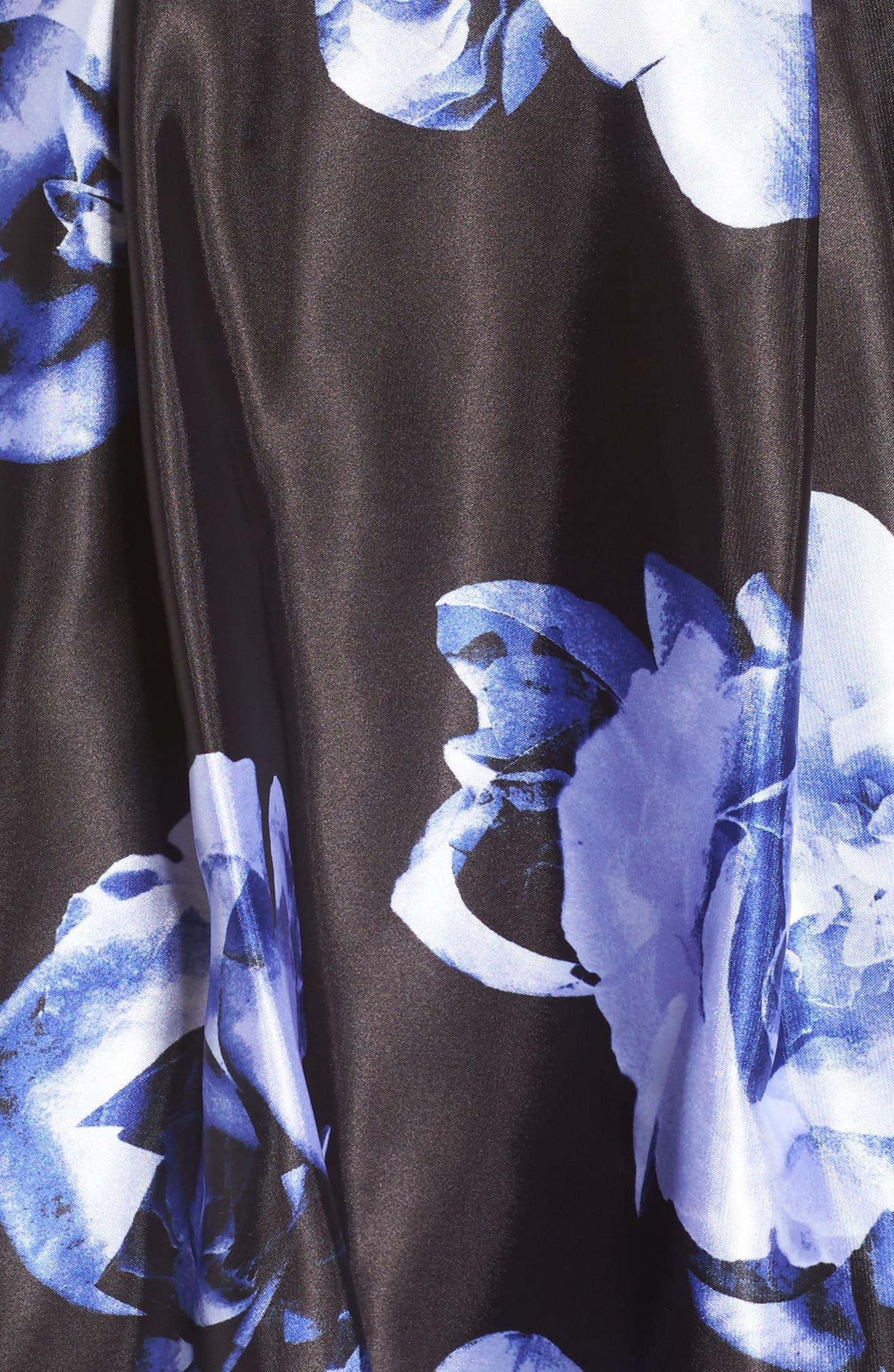 Floral Skirt Halter Skater Dress,                             Alternate thumbnail 5, color,