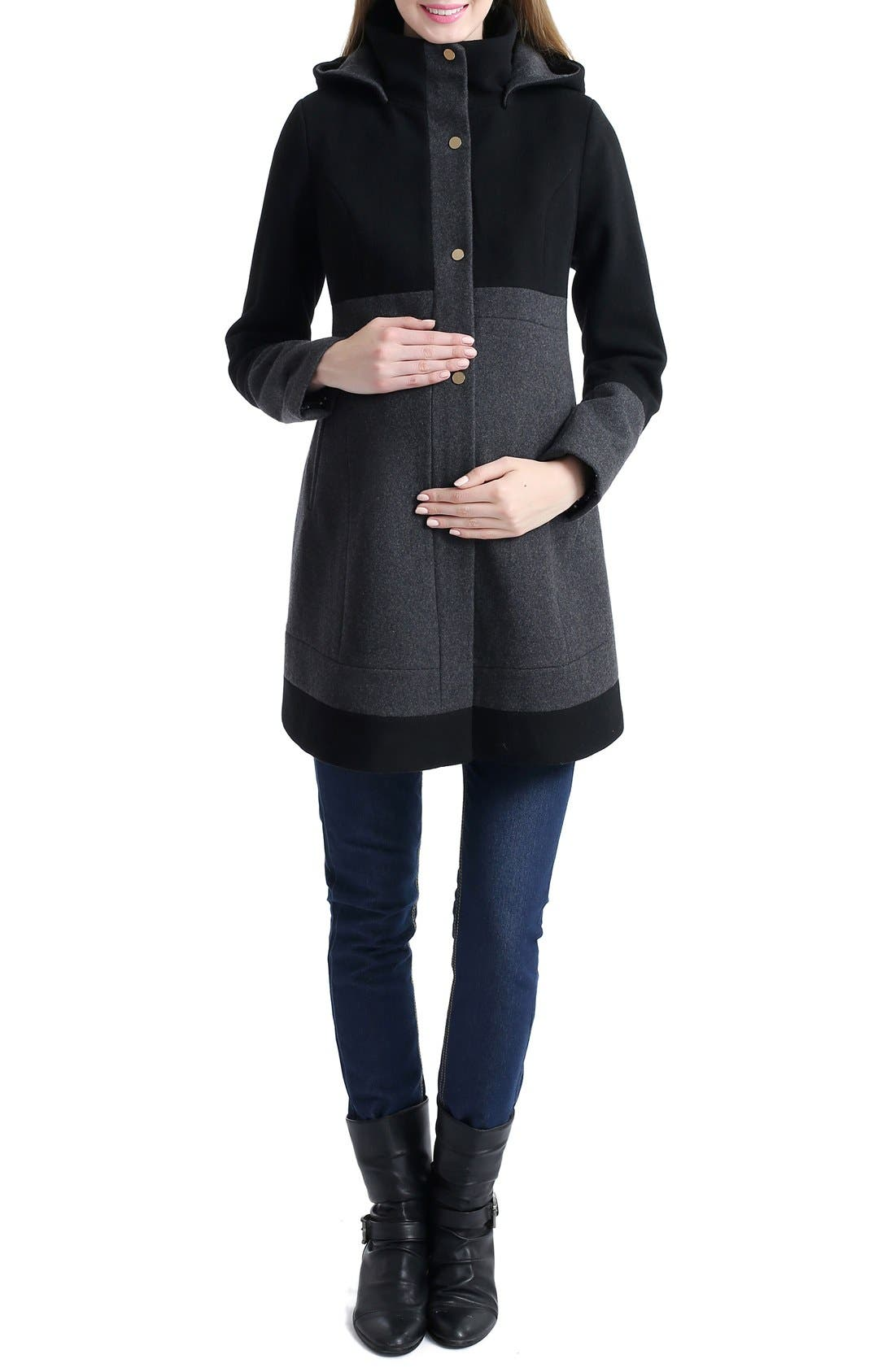 'Tessa' Colorblock Maternity Coat,                             Alternate thumbnail 3, color,                             BLACK