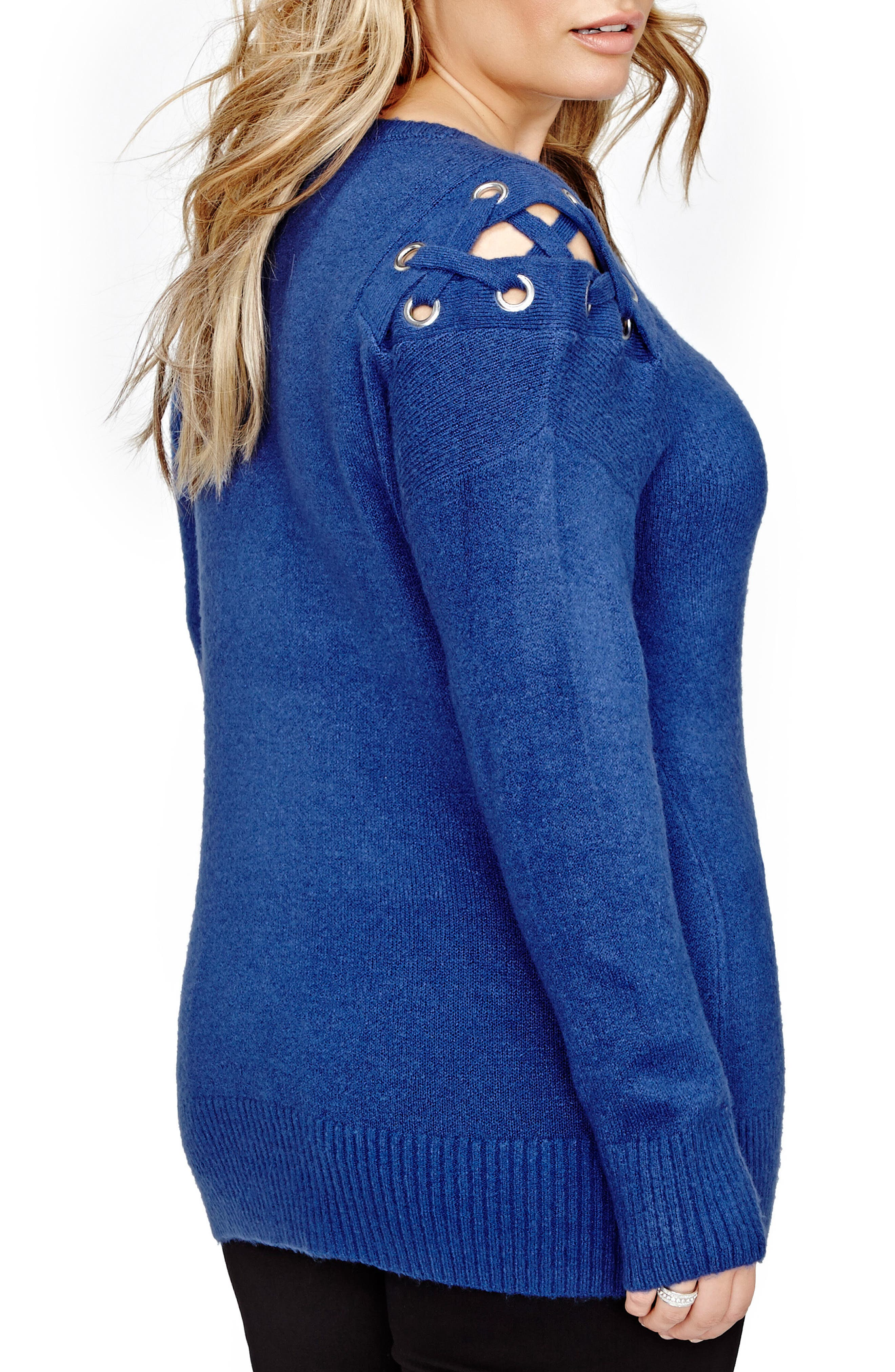 Lace-Up Sweater,                             Alternate thumbnail 2, color,                             423