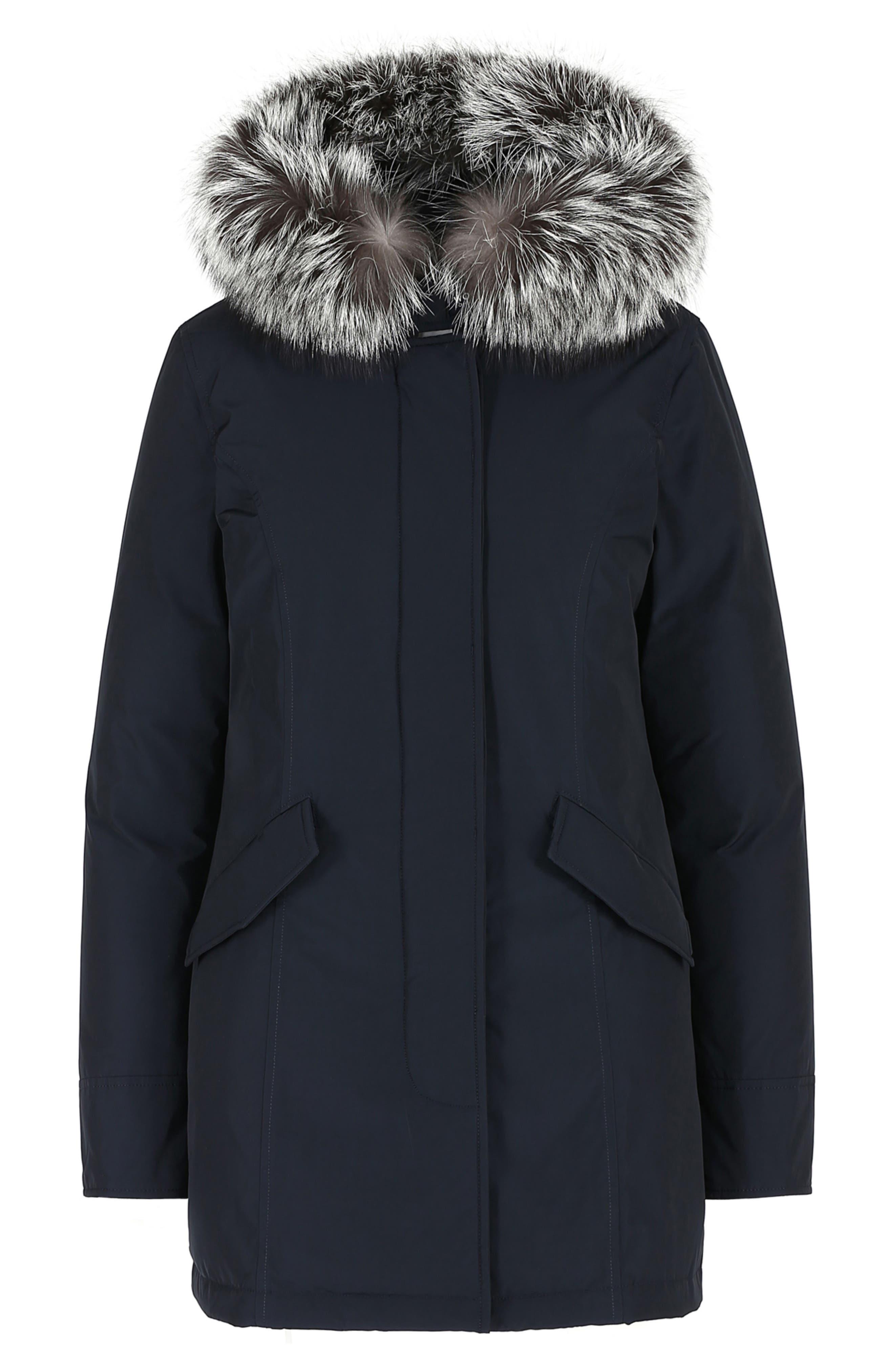 Luxury Arctic Down Parka with Genuine Fox Fur Trim,                             Alternate thumbnail 5, color,                             MIDNIGHT BLUE