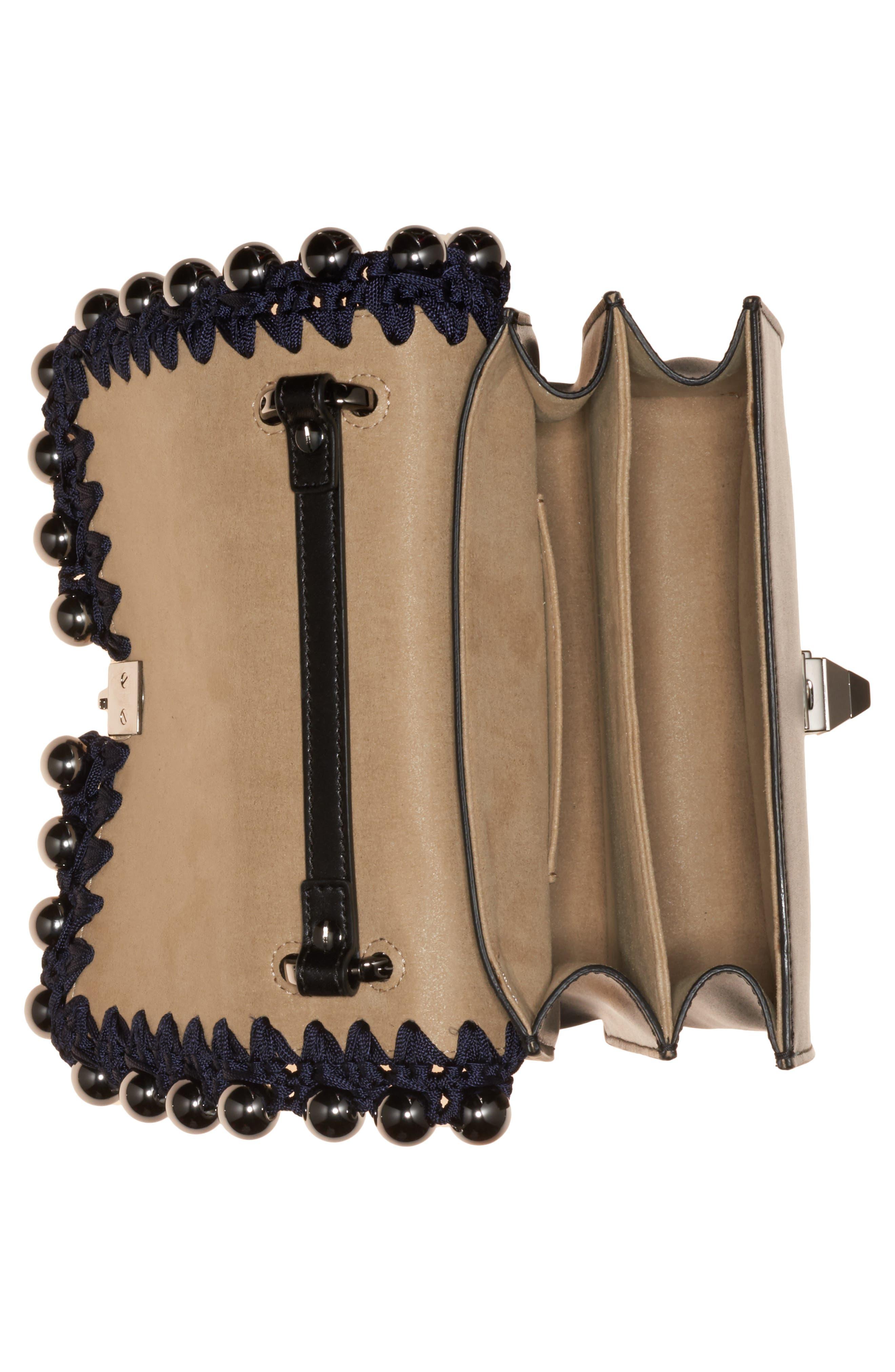 Small Kan I Genuine Snakeskin & Leather Beaded Shoulder Bag,                             Alternate thumbnail 3, color,                             IRIS/ NERO