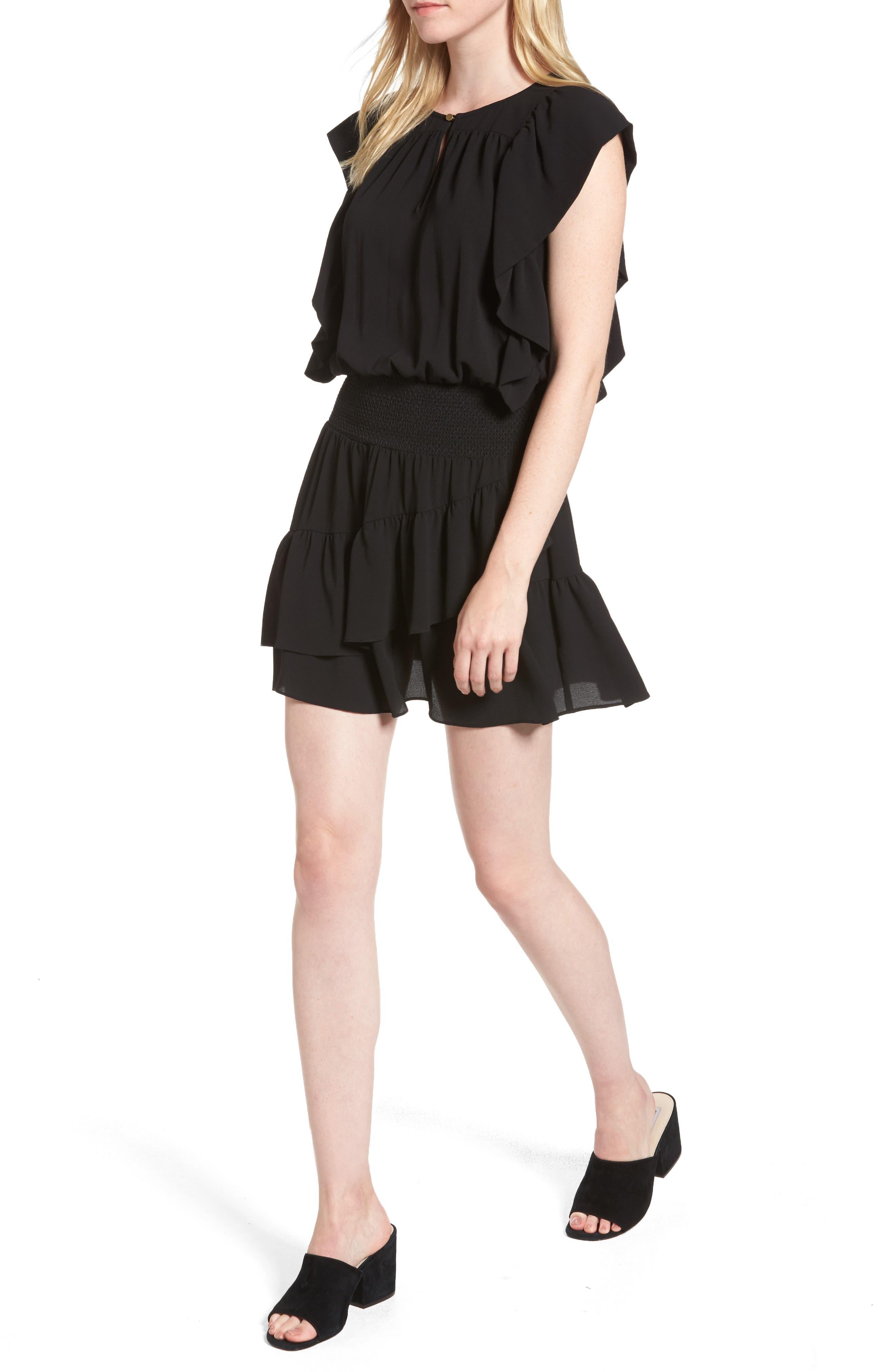 Medena Smock Waist Ruffle Minidress,                         Main,                         color, 001