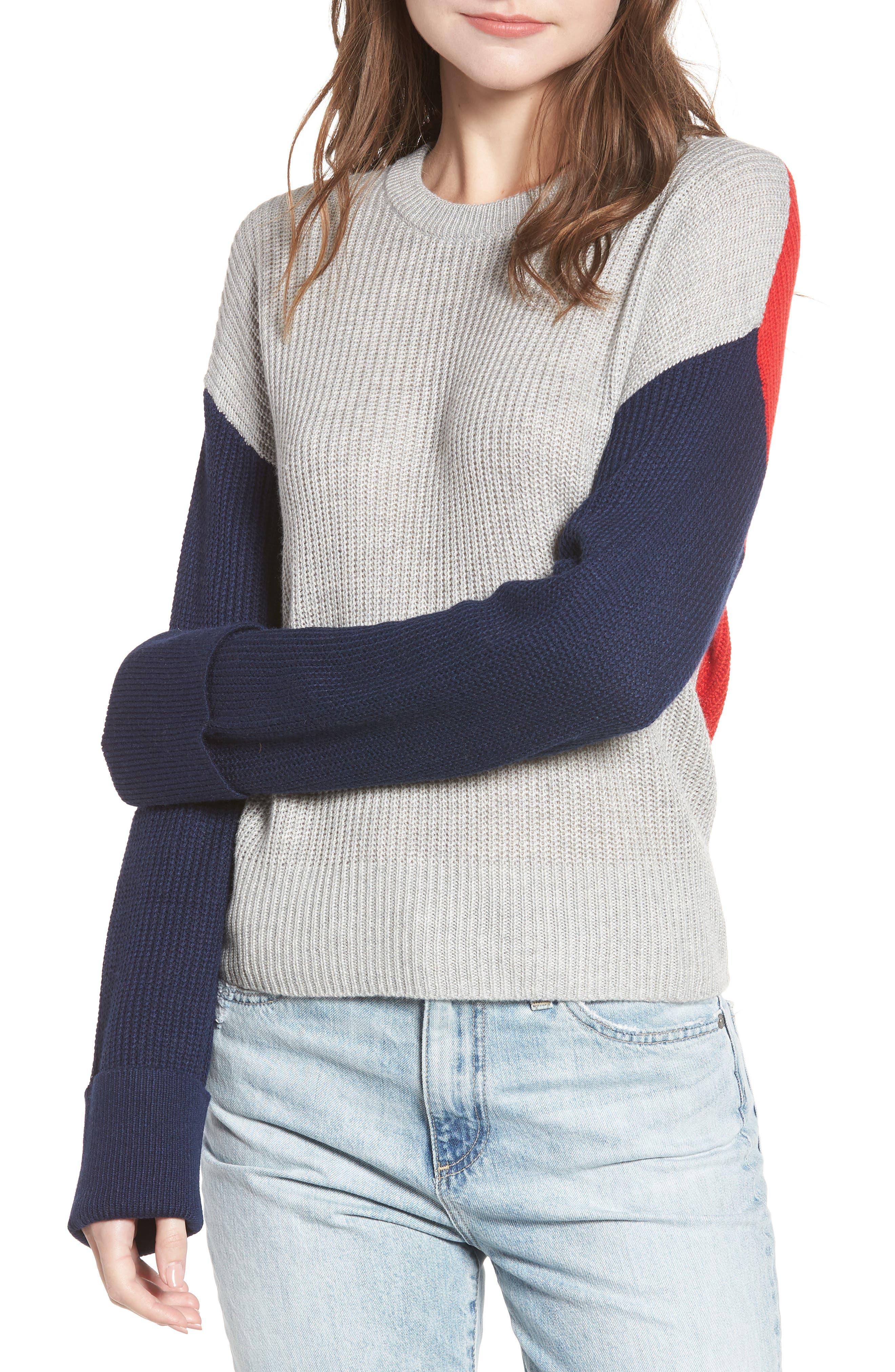 Colorblock Sweater,                             Main thumbnail 1, color,                             GREY/ NAVY