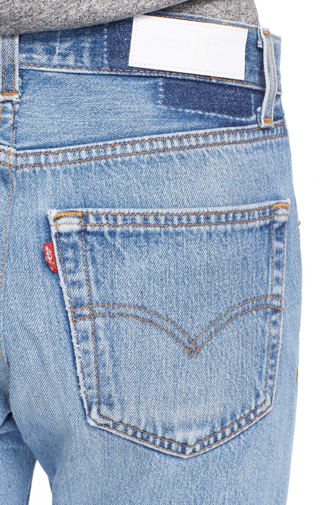 The High Waist Reconstructed Jeans,                             Alternate thumbnail 4, color,                             400