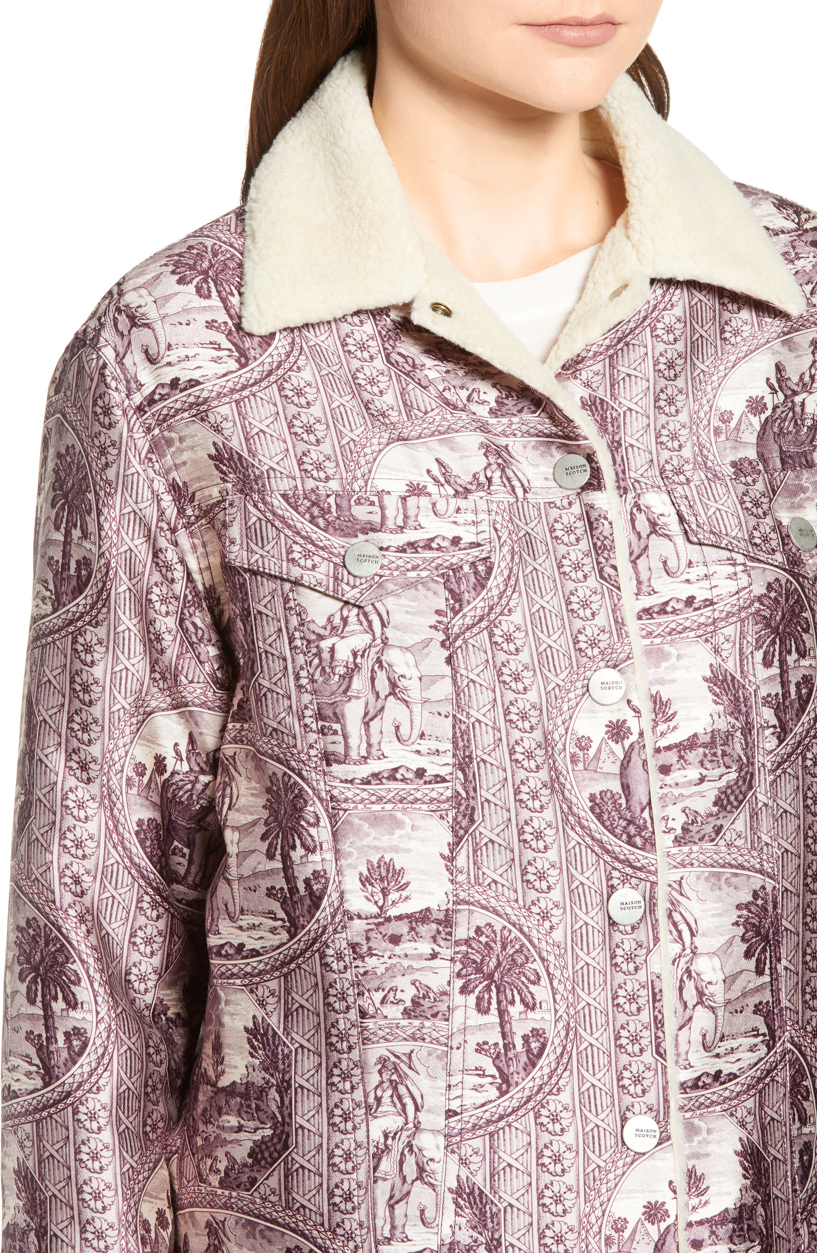 Fleece Lined Print Trucker Jacket,                             Alternate thumbnail 4, color,                             LILAC ELEPHANT PRINT