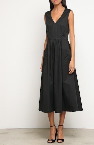 Patch Pocket Sateen Midi Dress, video thumbnail