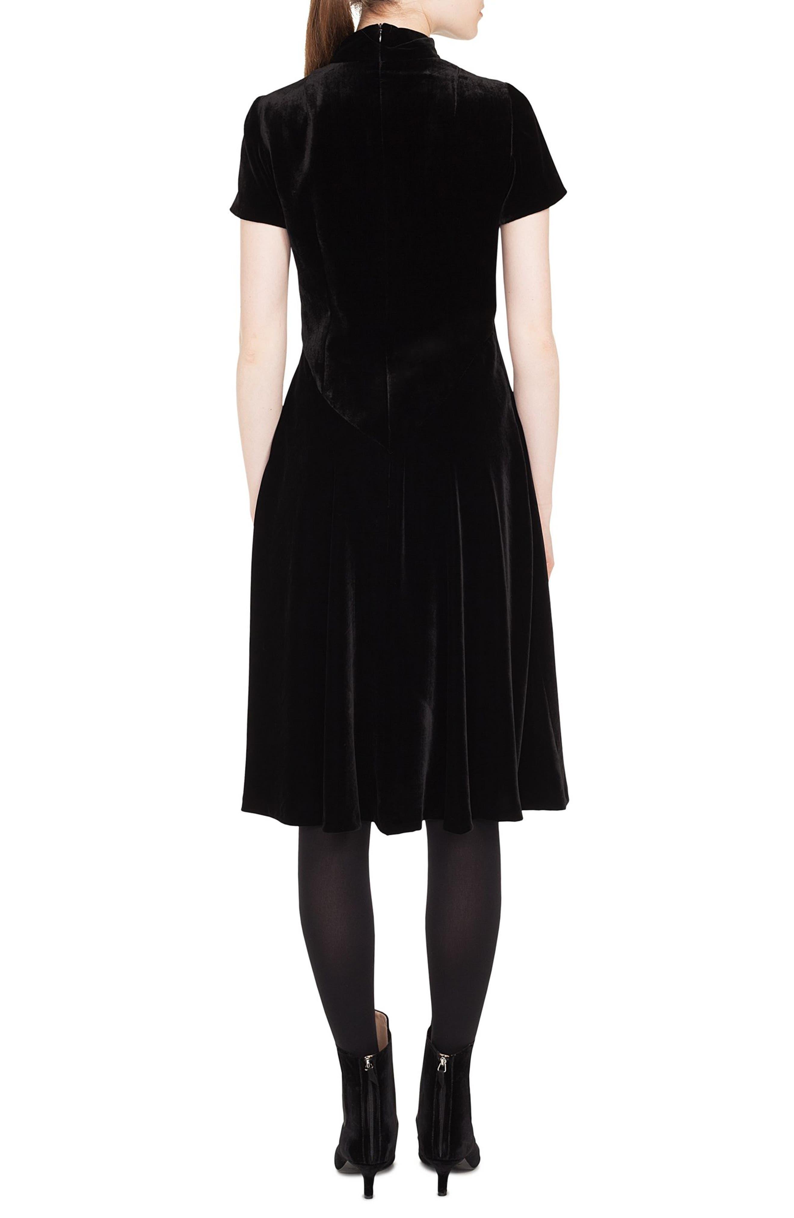 Scuba Velvet Mock Neck Dress,                             Alternate thumbnail 2, color,                             001