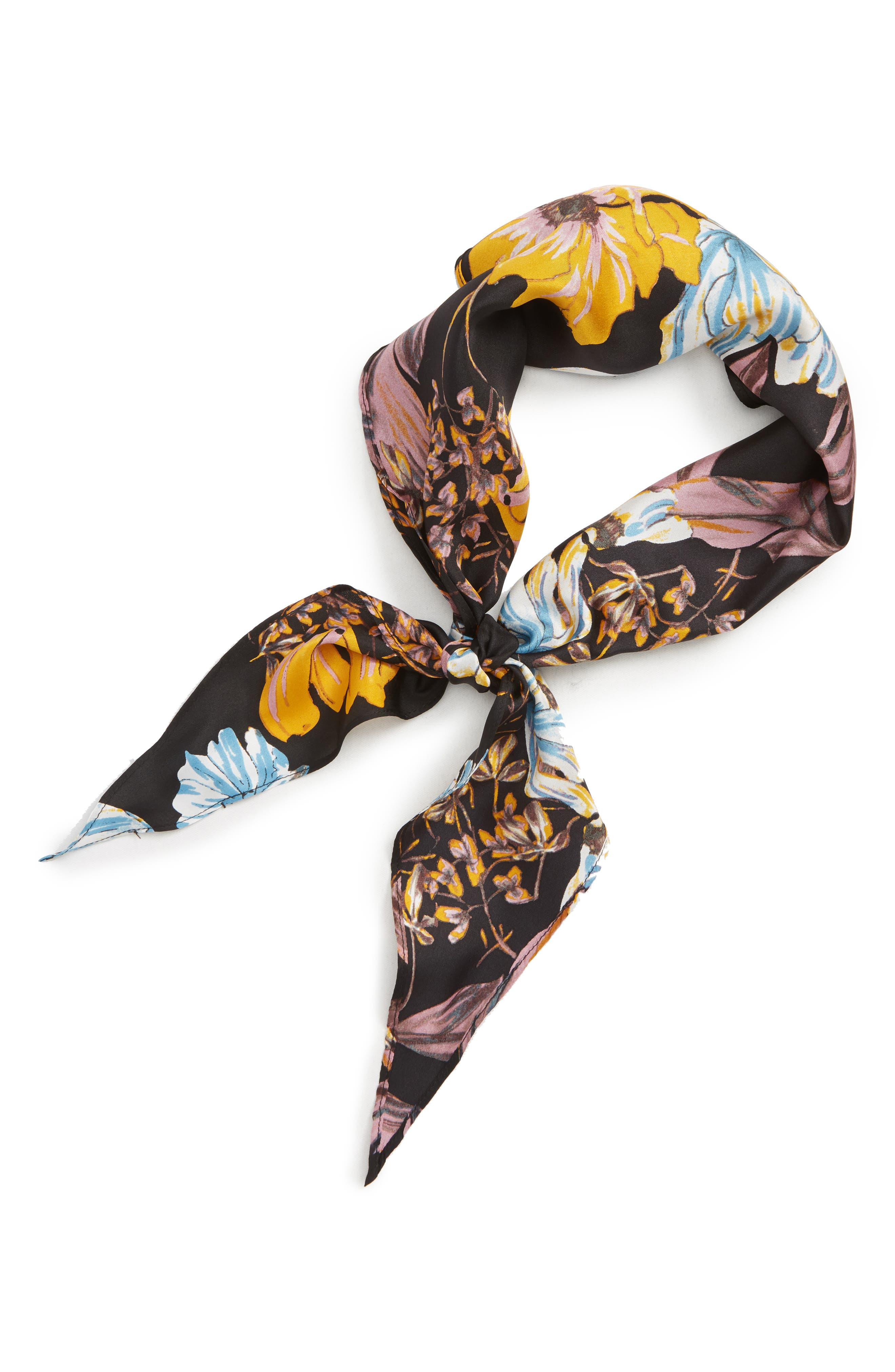 Floral Print Silk Kite Scarf,                             Alternate thumbnail 2, color,                             BLACK DARK FLORAL